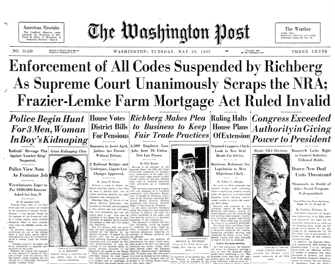 The front page of The Washington Post after the Supreme Court struck down three New Deal measures in one day. (The Washington Post/The Washington Post)