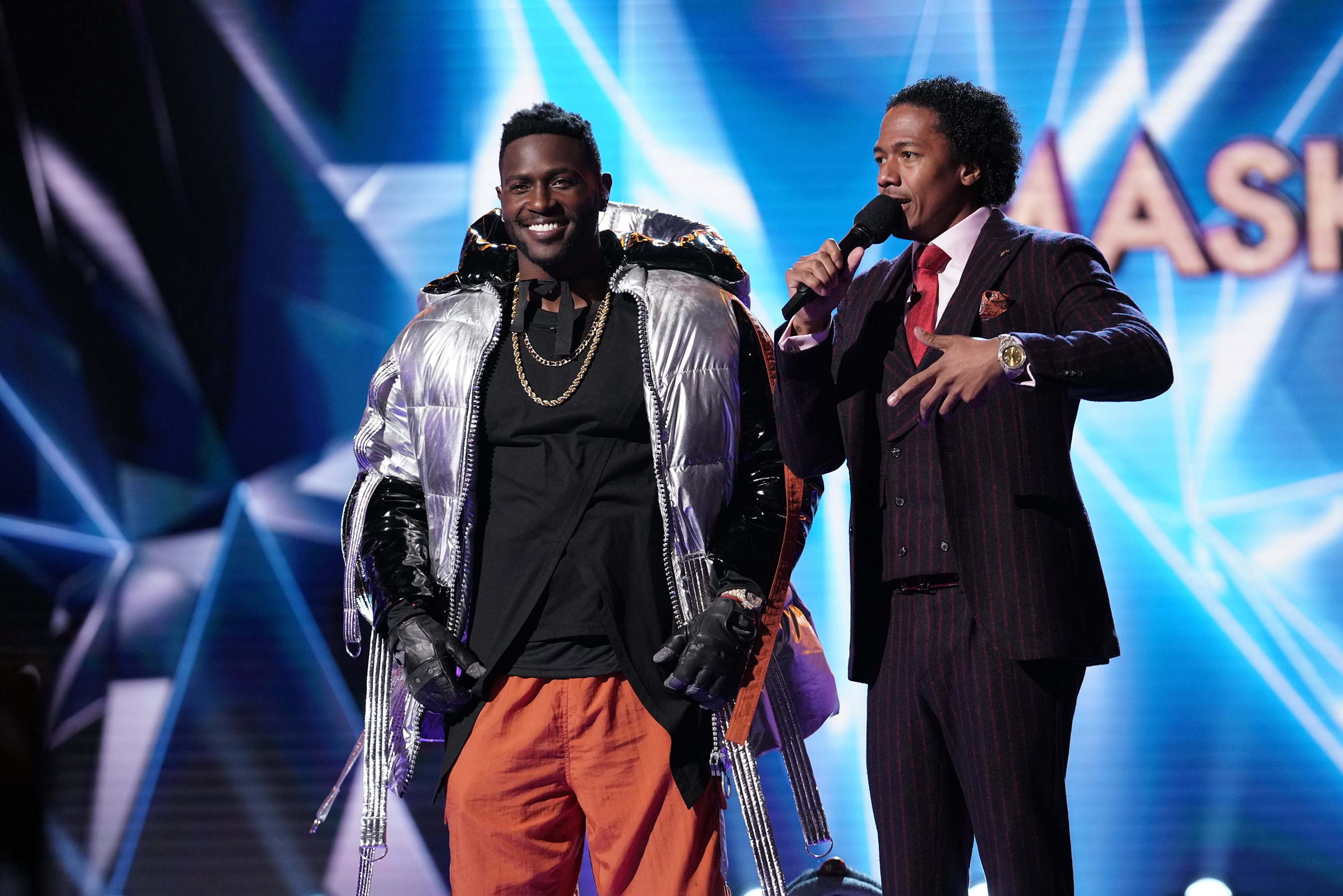 NFL superstar wide receiver Antonio Brown with host Nick Cannon.