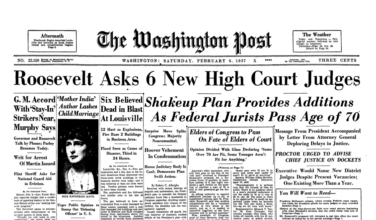 The Post reports on President Franklin D. Roosevelt's plan to expand the size of the Supreme Court. (Washington Post Staff/The Washington Post)