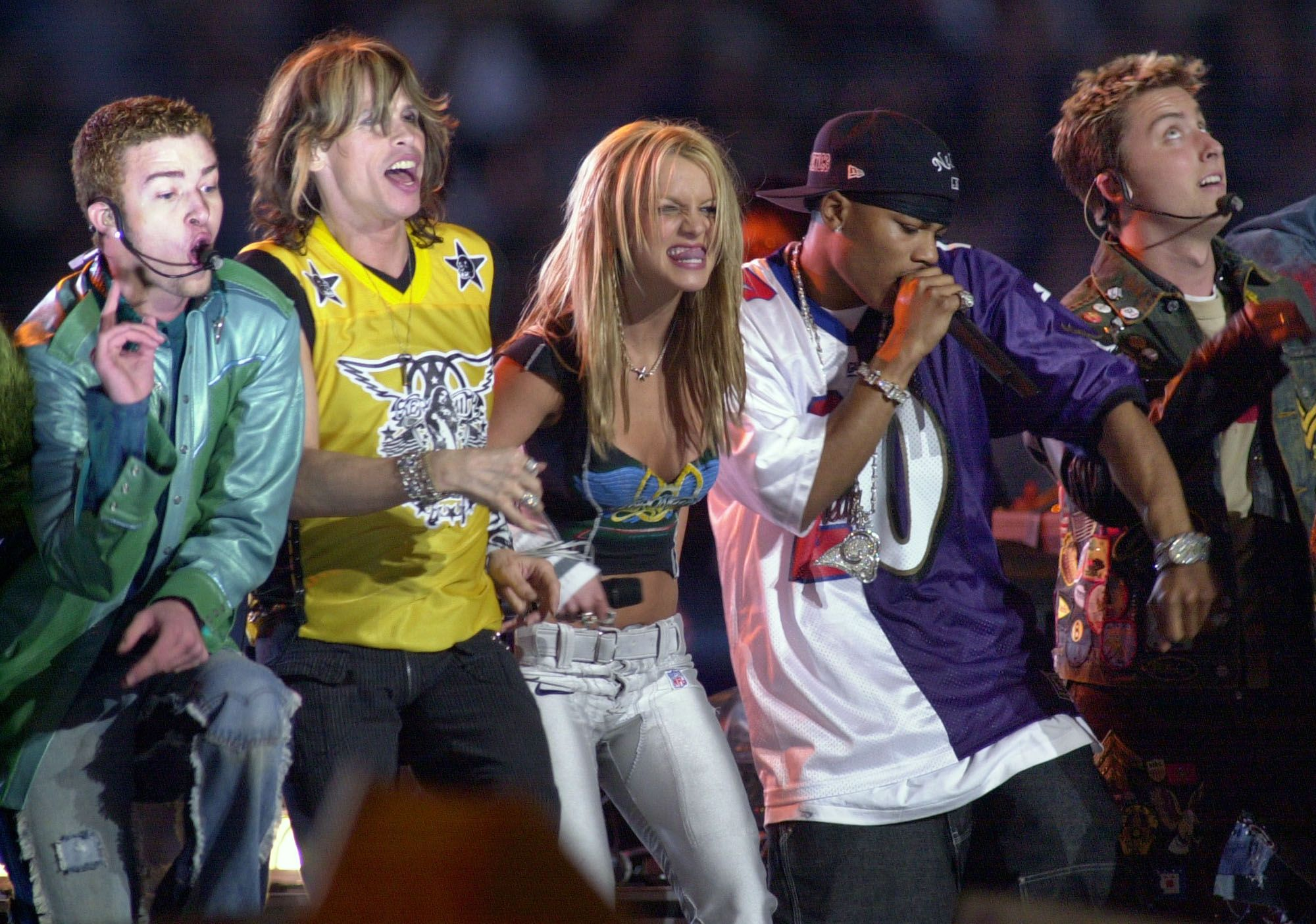 Spears at the height of her powers, performing at the 2001 Super Bowl halftime show with Aerosmith and 'N Sync (Amy E. Cohn/AP)