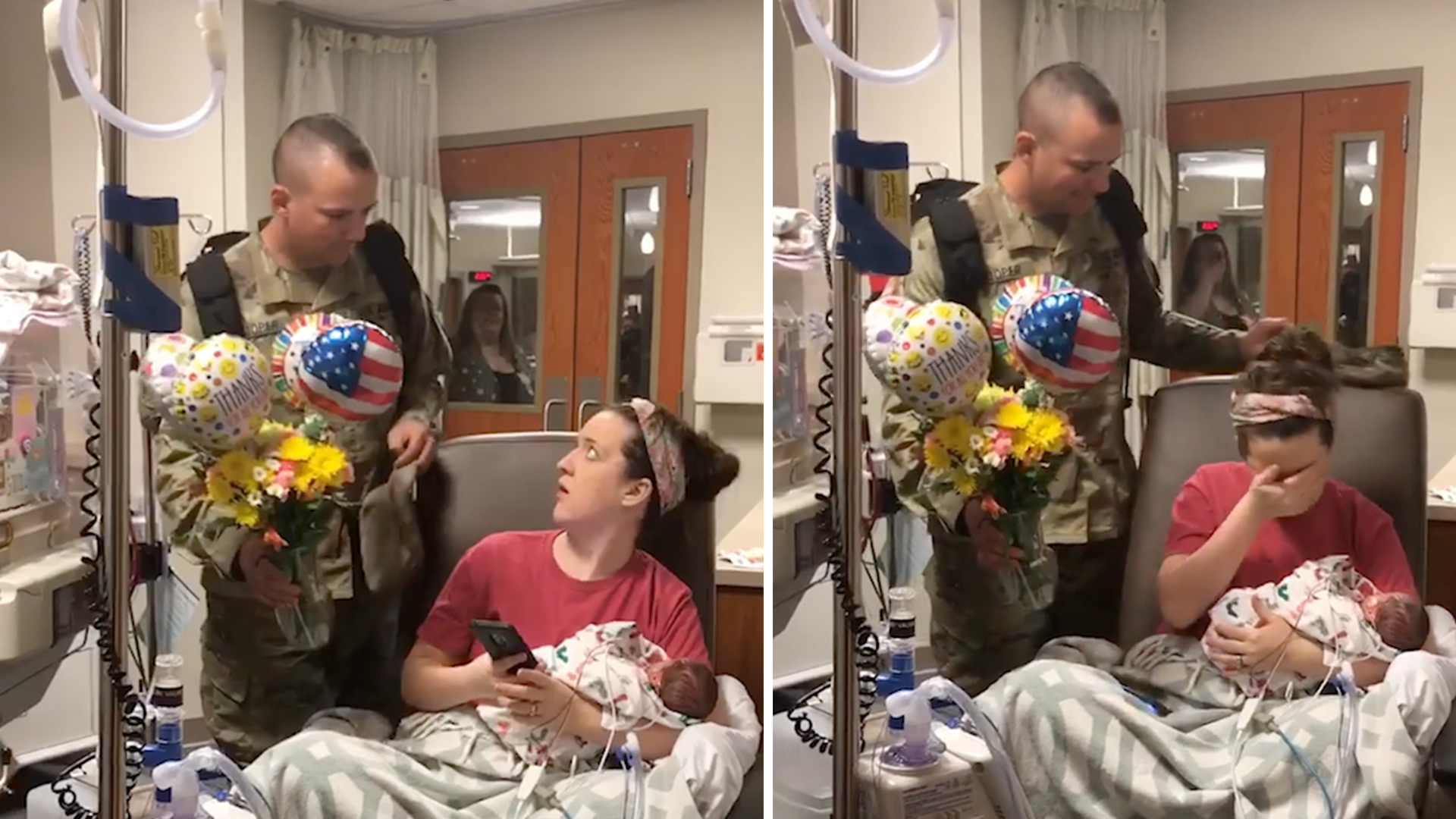 Soldier surprises wife, meets twin newborns at hospital