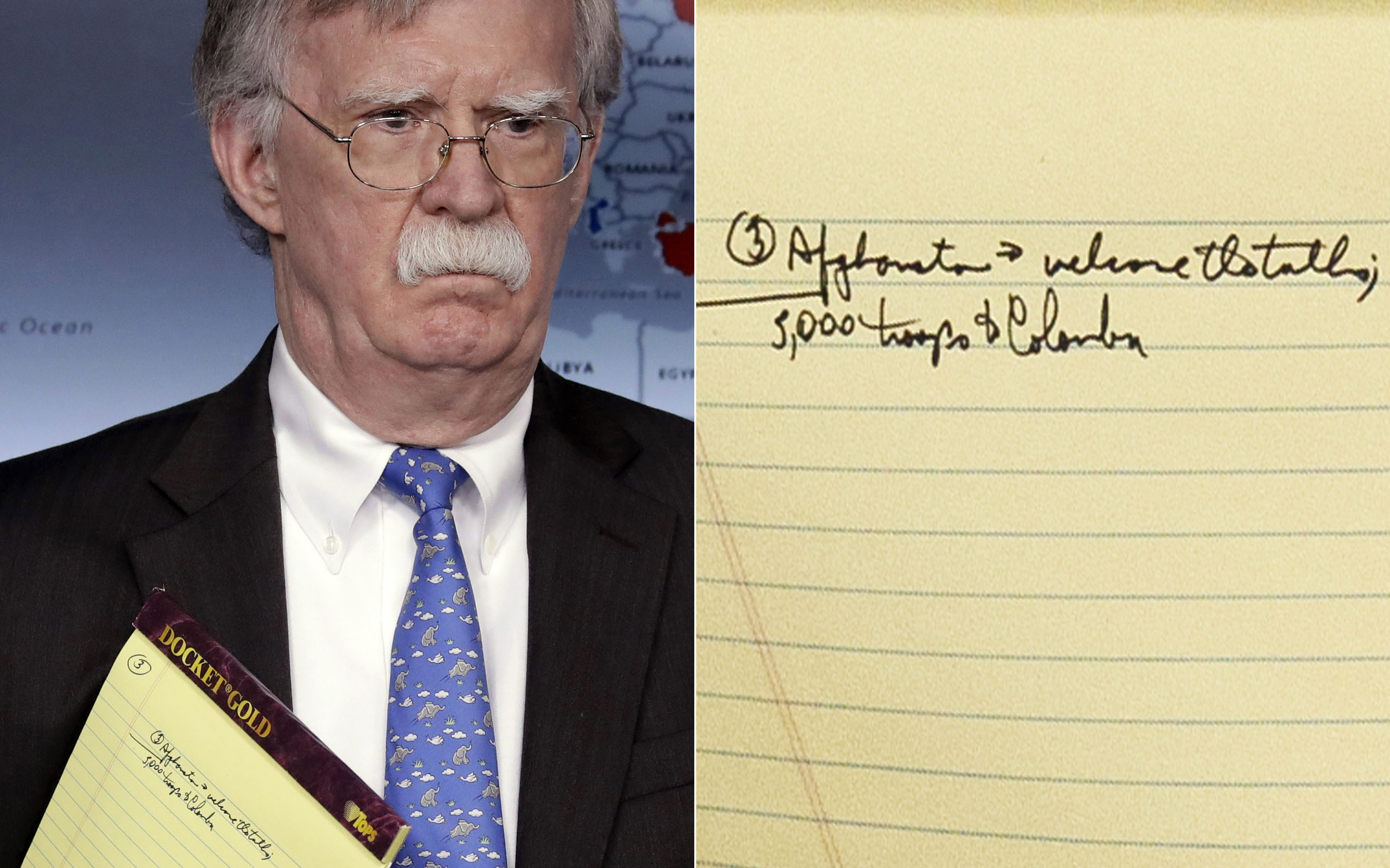 '5,000 troops to Colombia': Bolton's notes raise eyebrows
