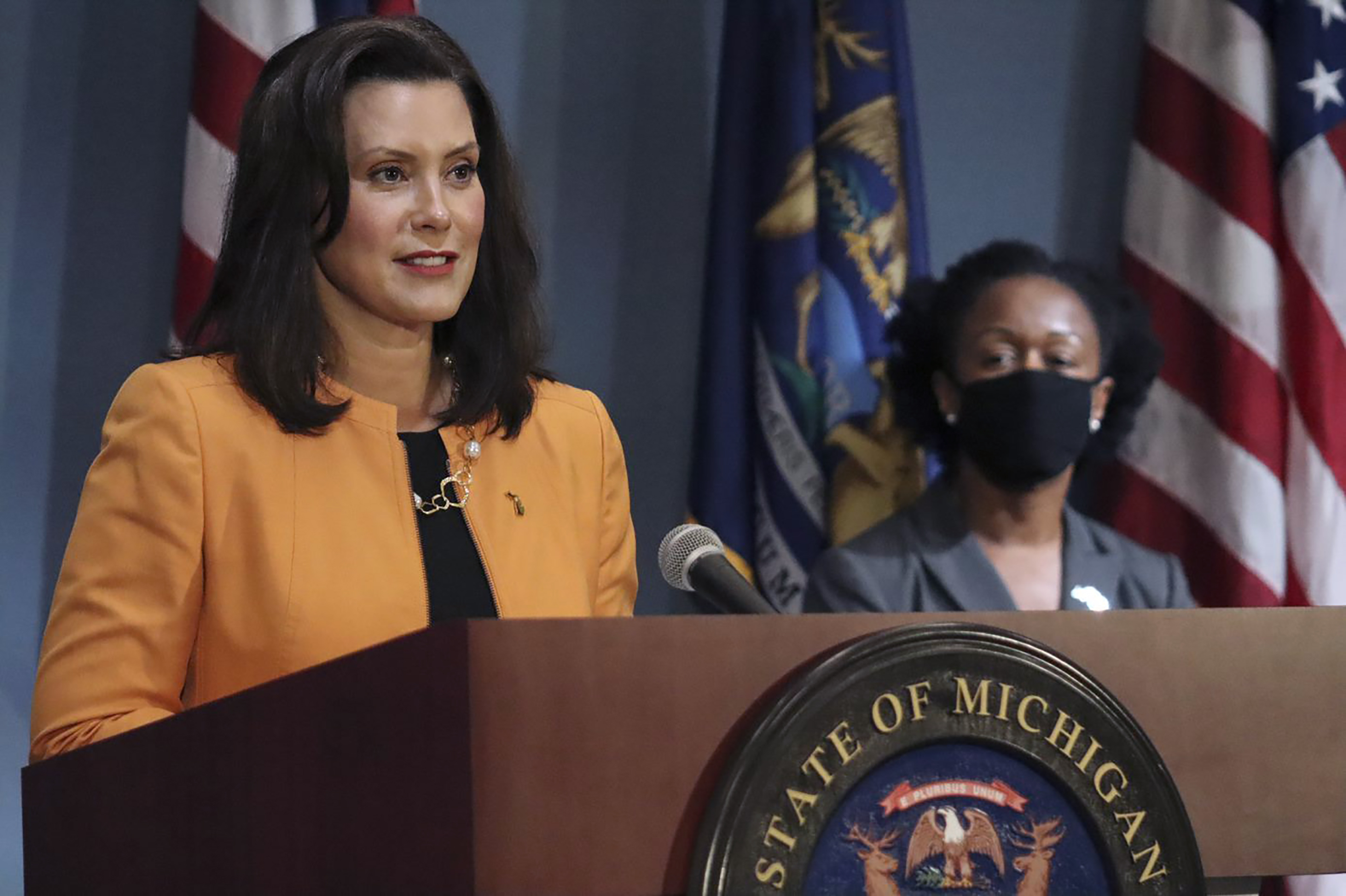 In a photo provided by the Michigan Office of the Governor, Michigan Gov. Gretchen Whitmer addresses the state during a speech in Lansing in August. (AP)