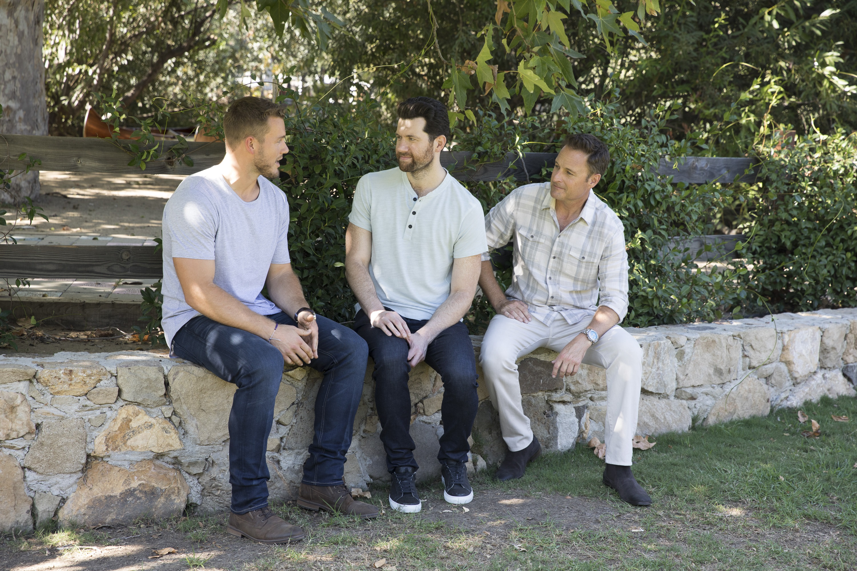 Colton chats with host Chris Harrison and guest star Billy Eichner.