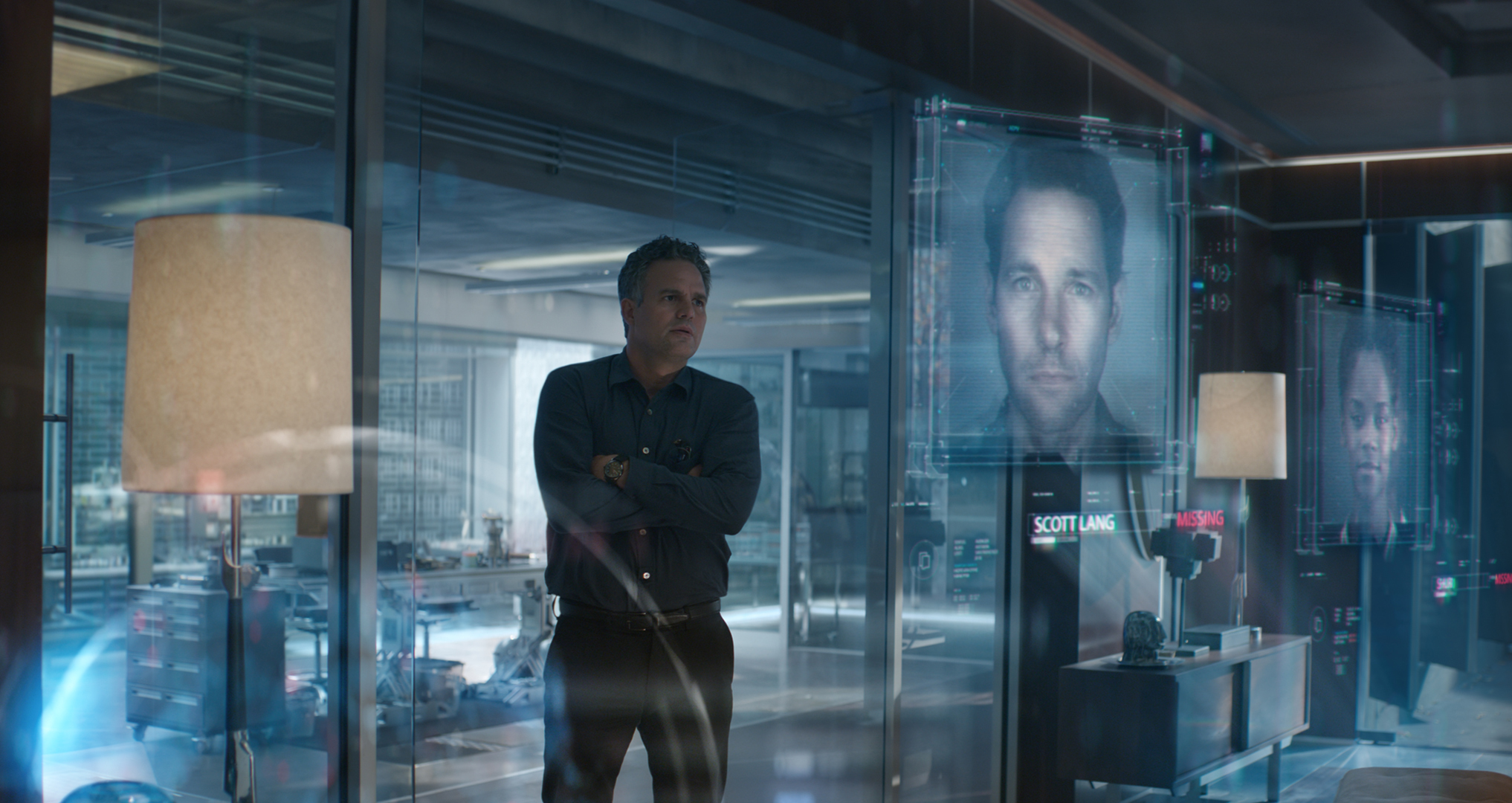 "Mark Ruffalo, left, is Bruce Banner (a.k.a. Hulk) in ""Avengers: Endgame."" Paul Rudd, pictured on screen, right, plays Scott Lang (a.k.a. Ant-Man)."