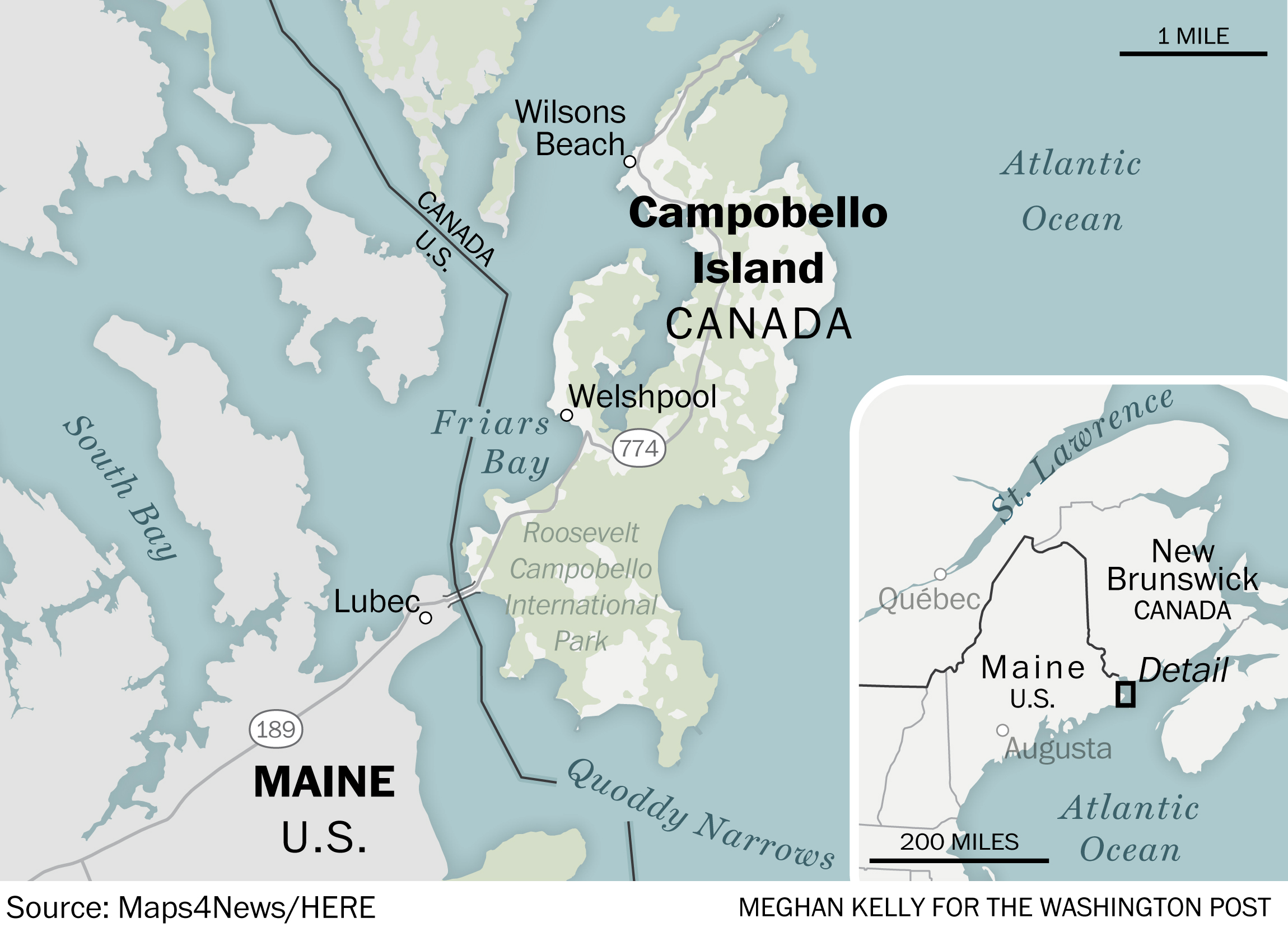 Delano Island Canada Map Canada Post mail to Campobello Island crosses Maine. CPB agents