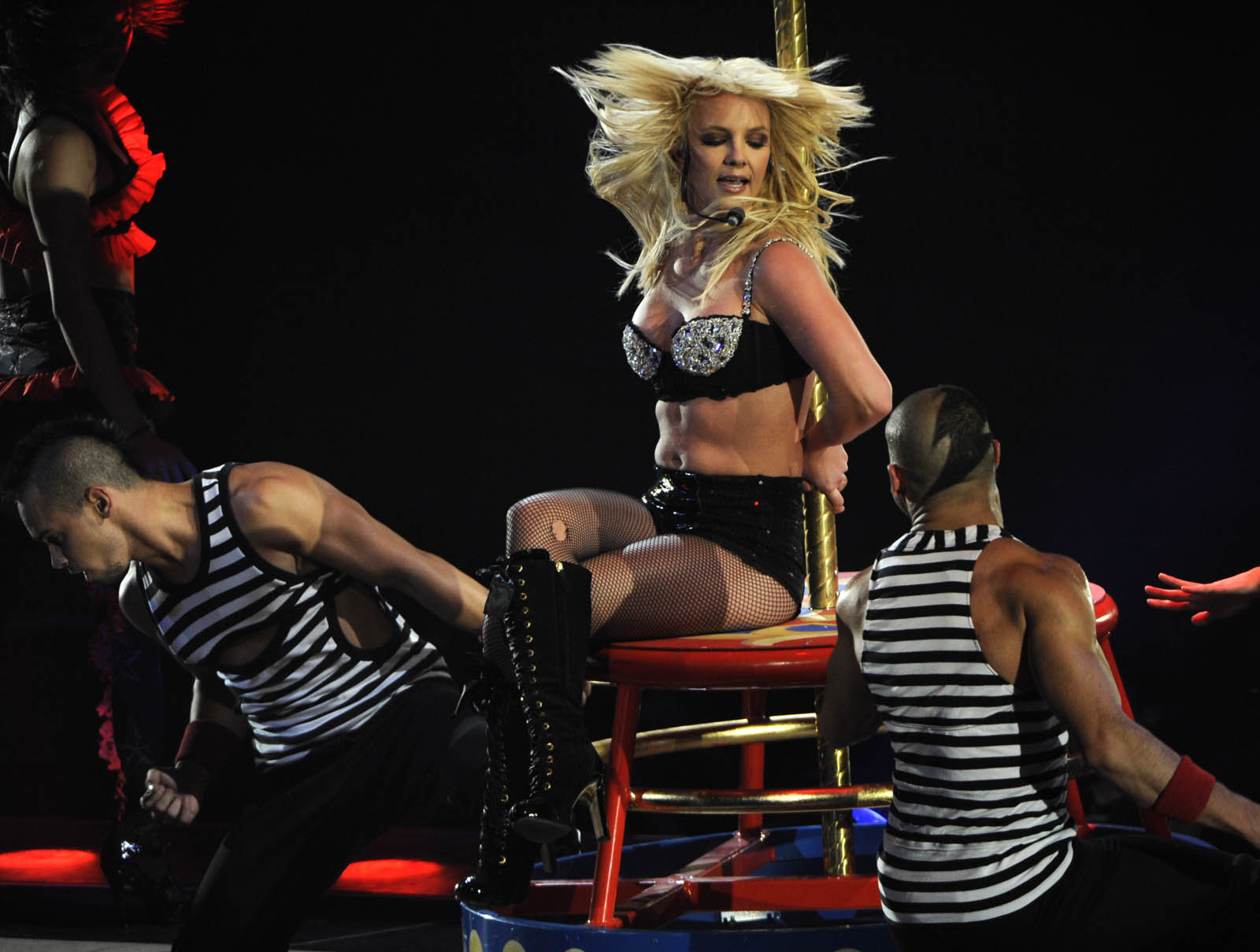 Within a year of being placed in a conservatorship, Spears was back on tour, shown here performing at Washington's Verizon Center in March 2009. (Linda Davidson/The Washington Post)