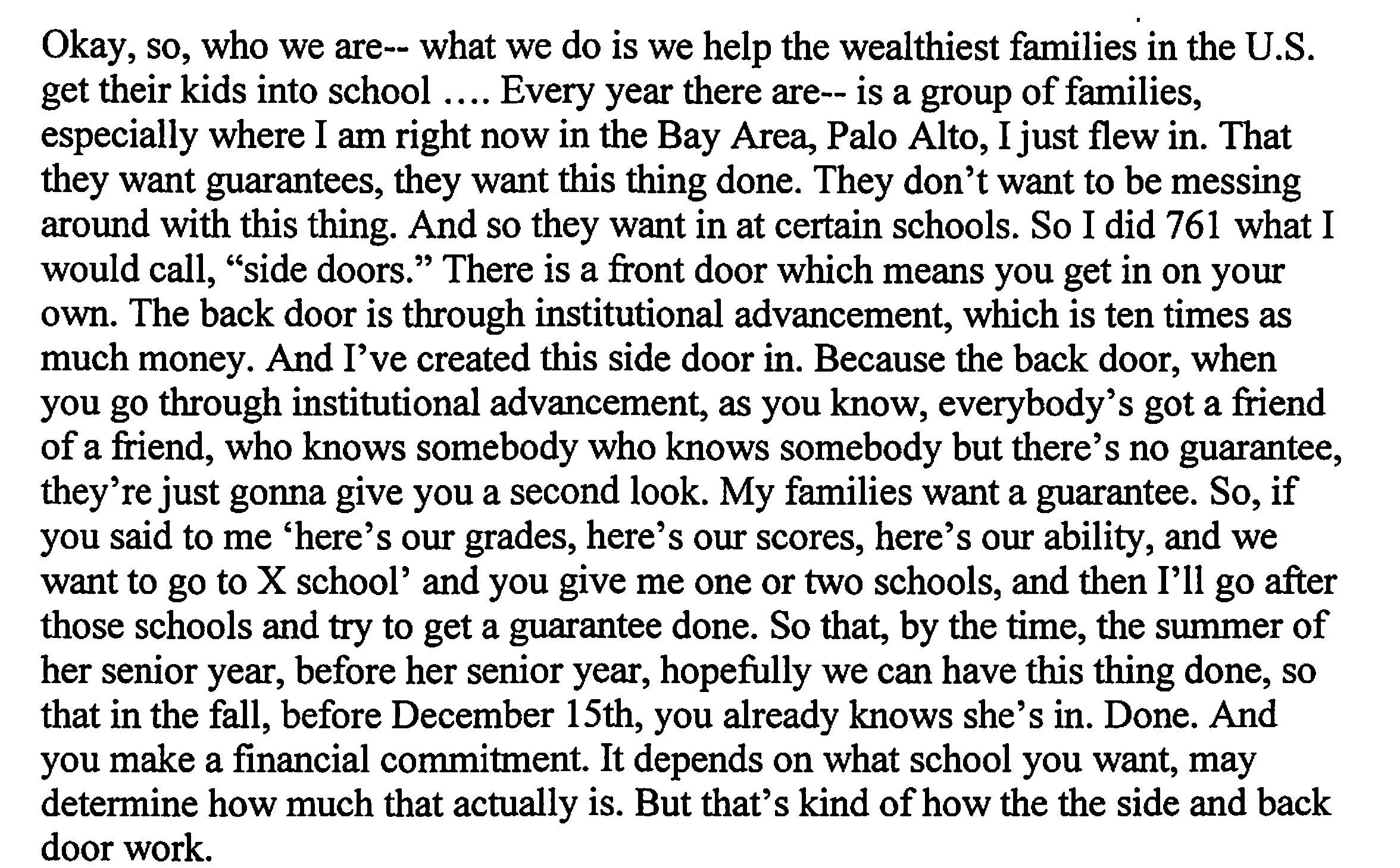 Excerpt from federal indictment in college admissions scam case (U.S. District Court indictment) (The Washington Post/(U.S. District Court indictment)