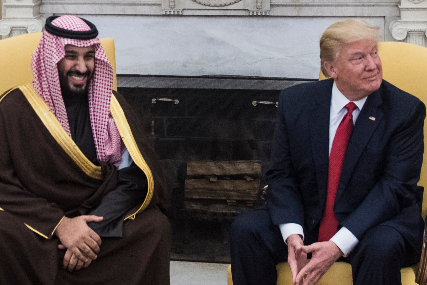 President Trump with Saudi crown prince Mohammed bin Salman in the Oval Office on March 14, 2017. (Jabin Botsford/The Washington Post)
