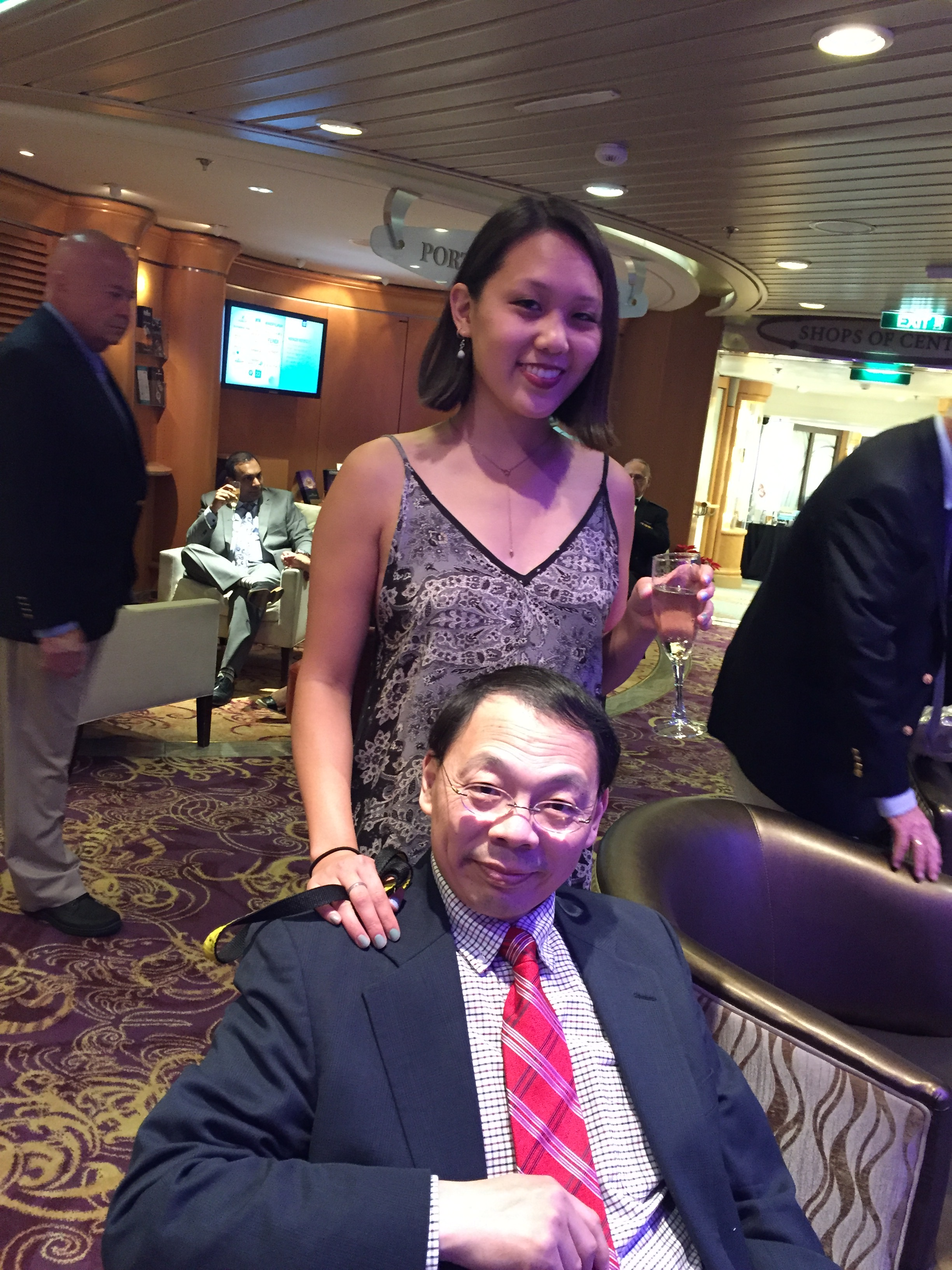 Shirley Wang, 22, with her father, Lin Wang.