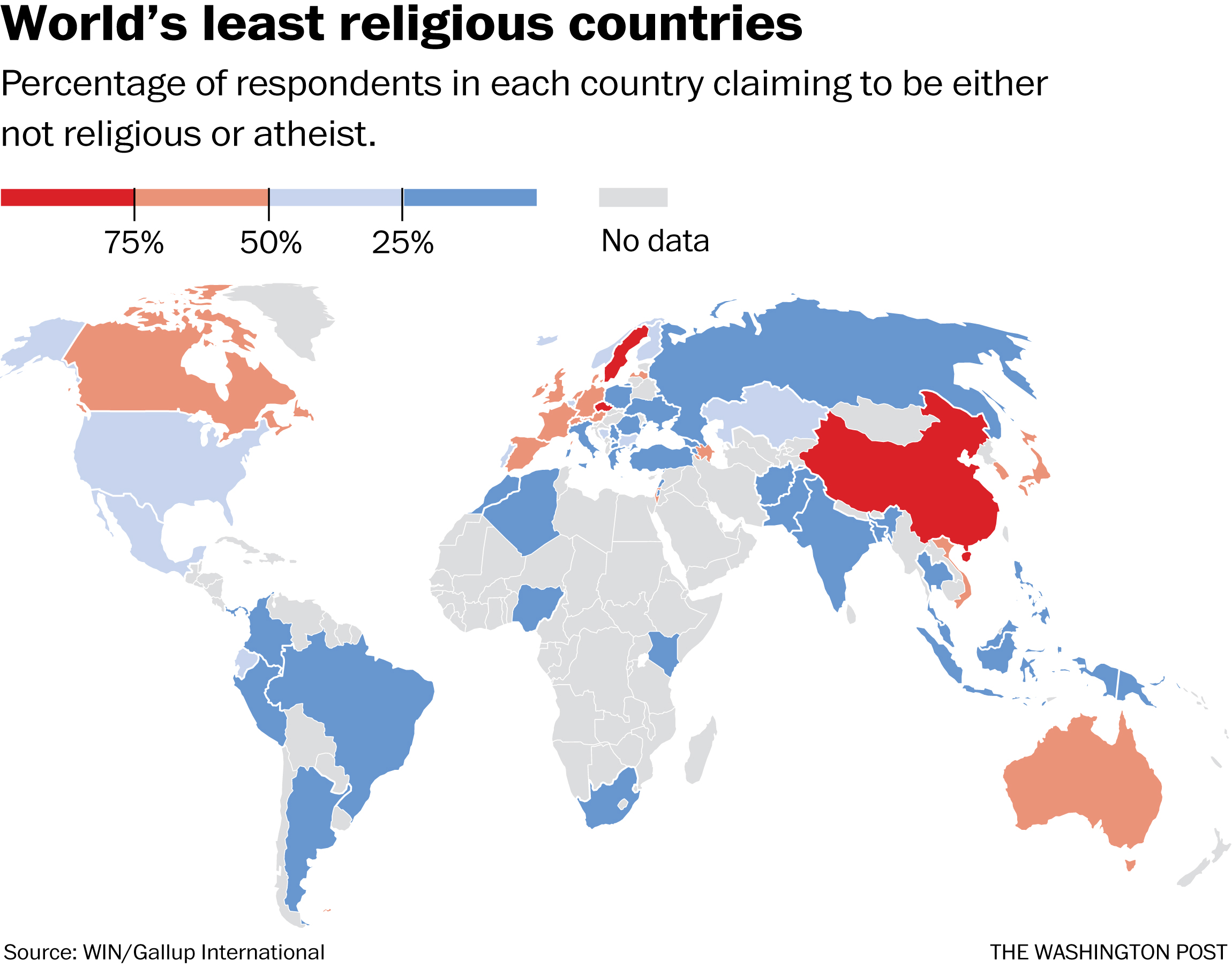 Picture of: Map These Are The World S Least Religious Countries The Washington Post