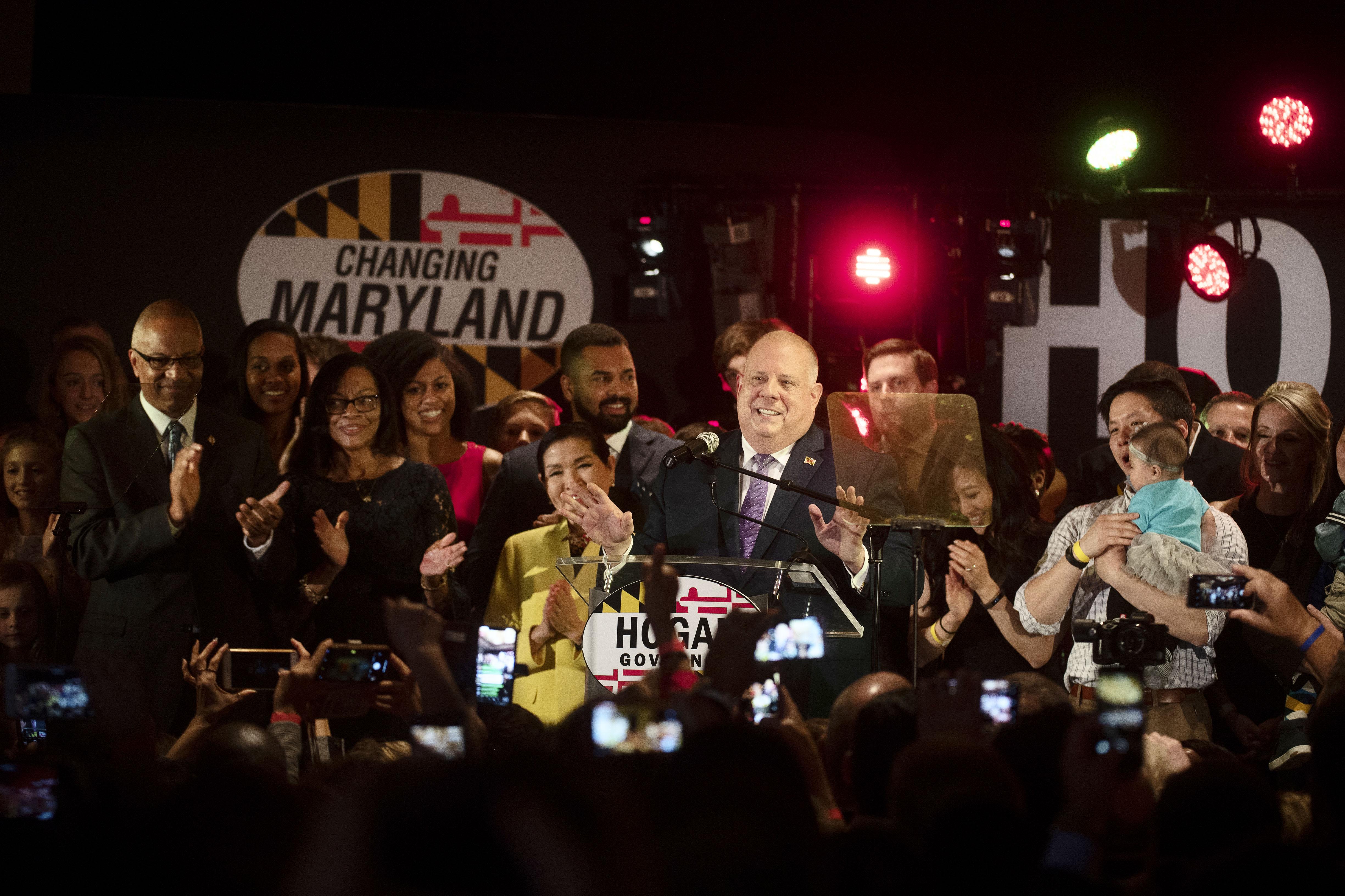 Republican Gov  Larry Hogan wins a second term in deep-blue
