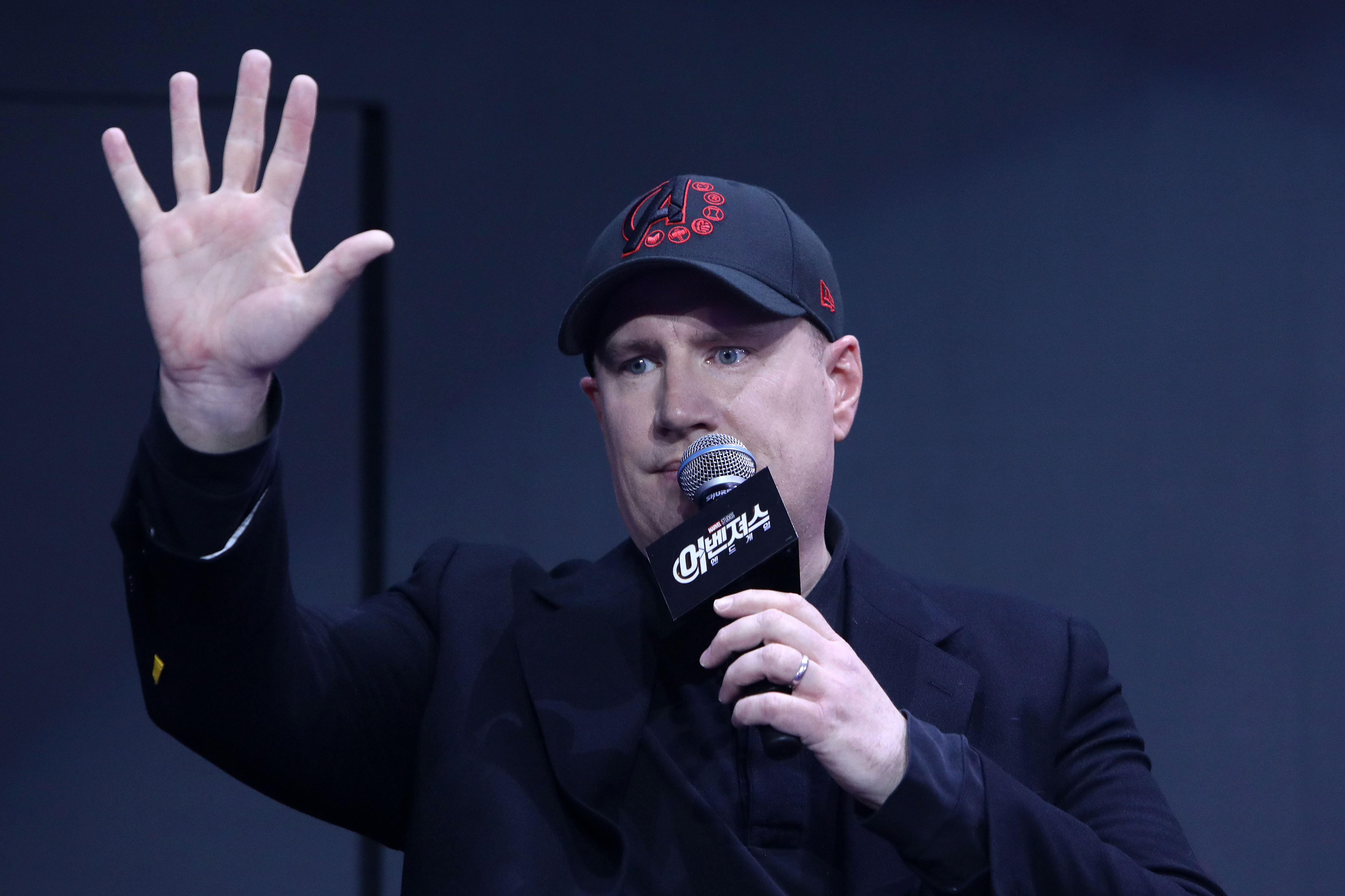 "Kevin Feige attends a fan event for Marvel Studios's ""Avengers: Endgame"" this week in Seoul, South Korea. (Chung Sung-Jun/Getty Images for Disney)"