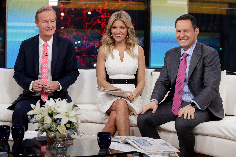"""""""Fox & Friends"""" co-hosts Steve Doocy, Ainsley Earhardt and Brian Kilmeade."""
