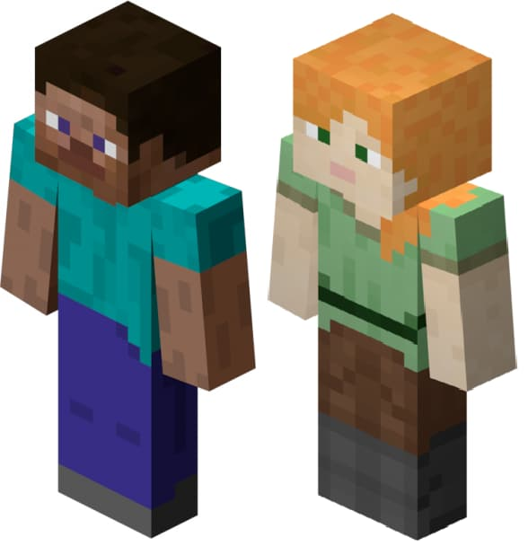 minecraft steve and alex image