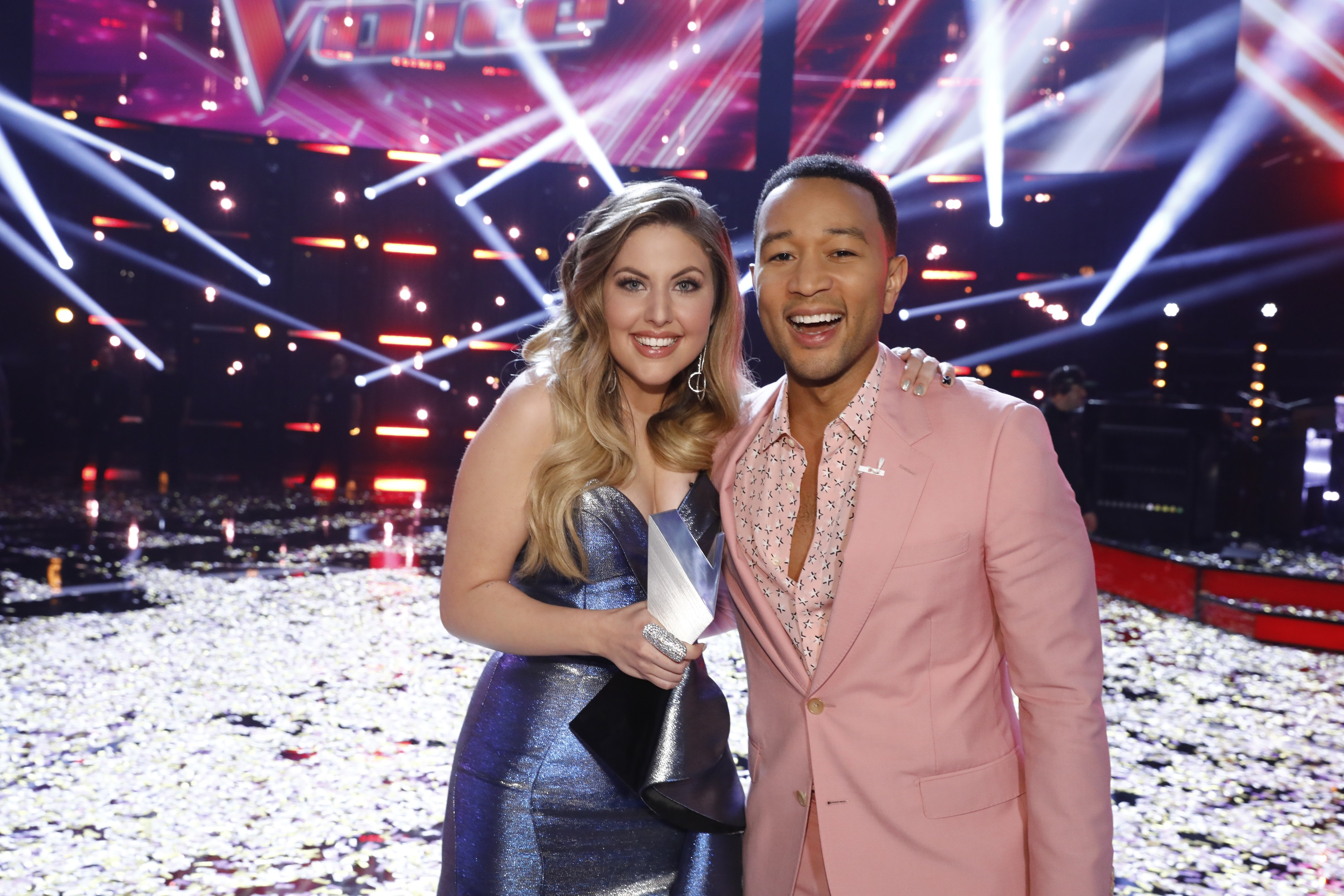 Maelyn Jarmon and her coach, John Legend, who just completed his first season on the show.