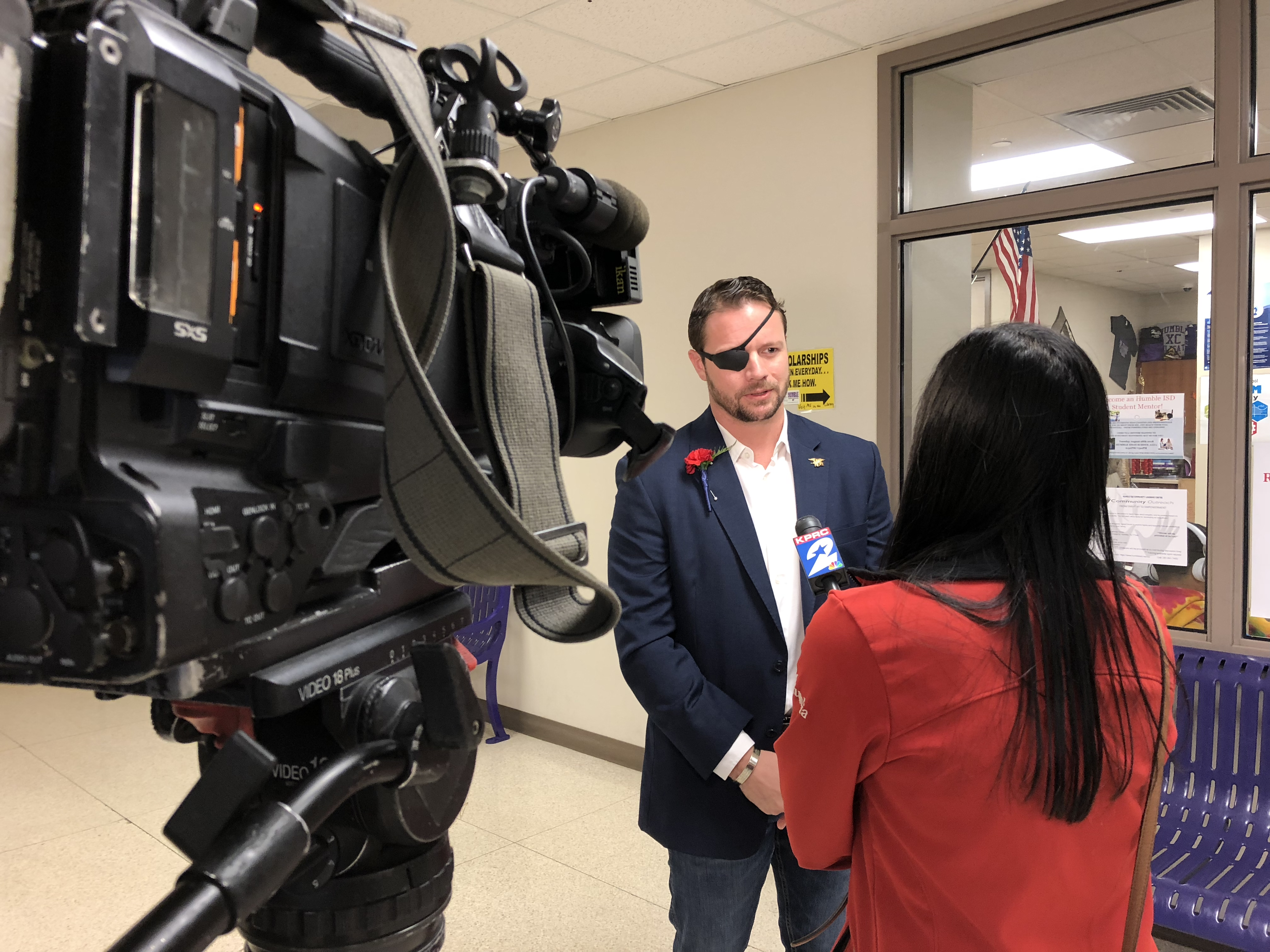Crenshaw gives an interview to a TV reporter in Houston two days after his election night victory.