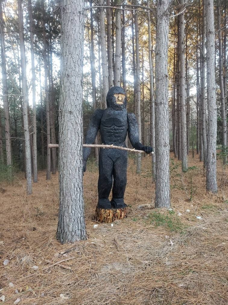 Passersby keep mistaking a chain-saw carving for Bigfoot near Mocksville, N.C. (Davie County Animal Shelter)