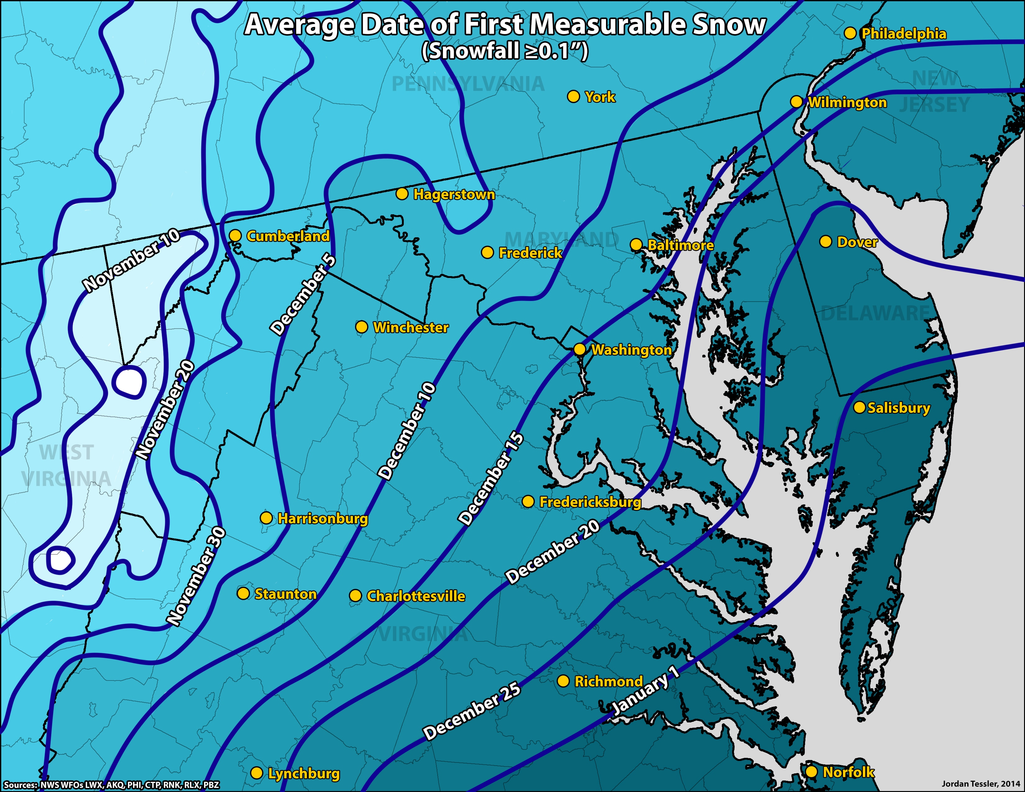 snow accumulation map maryland What Is The Average Date Of The First Measurable Snow In The D C snow accumulation map maryland