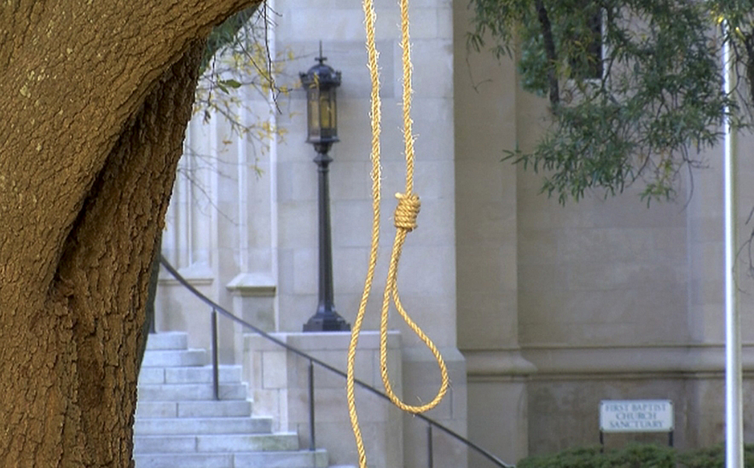 A noose hangs on a tree on the state Capitol grounds in Jackson, Miss., on Nov. 26.