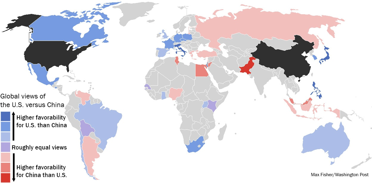 China Vs Us Map A revealing map of how the world views China vs. the U.S.   The