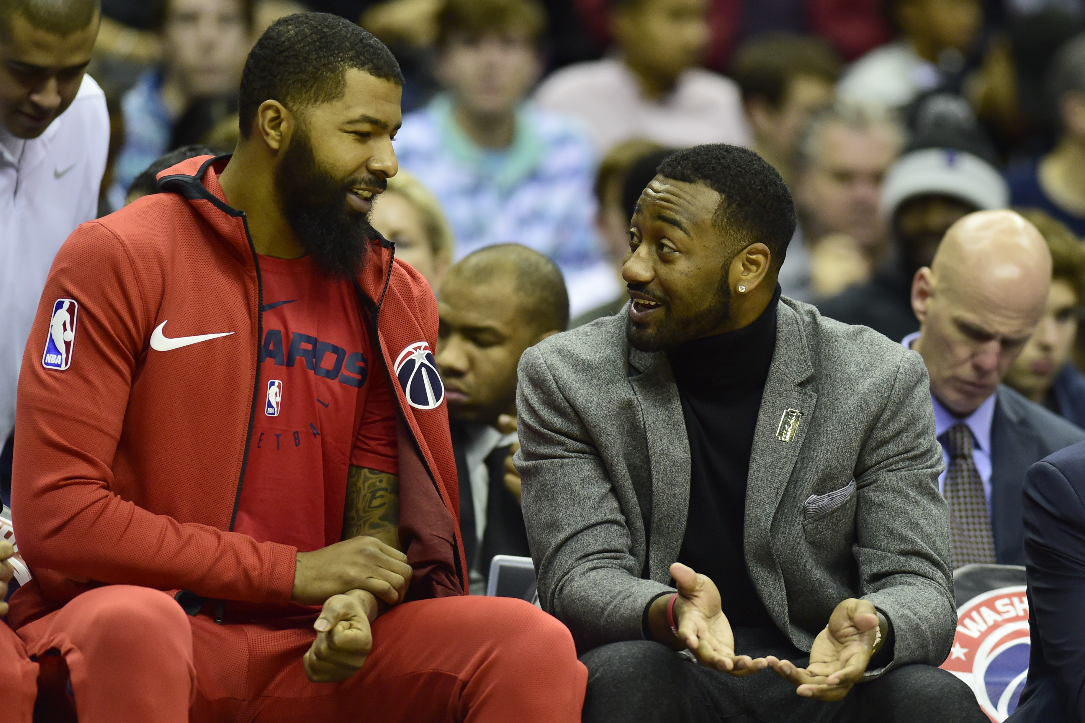 John Wall, right, with Wizards teammate Markieff Morris.