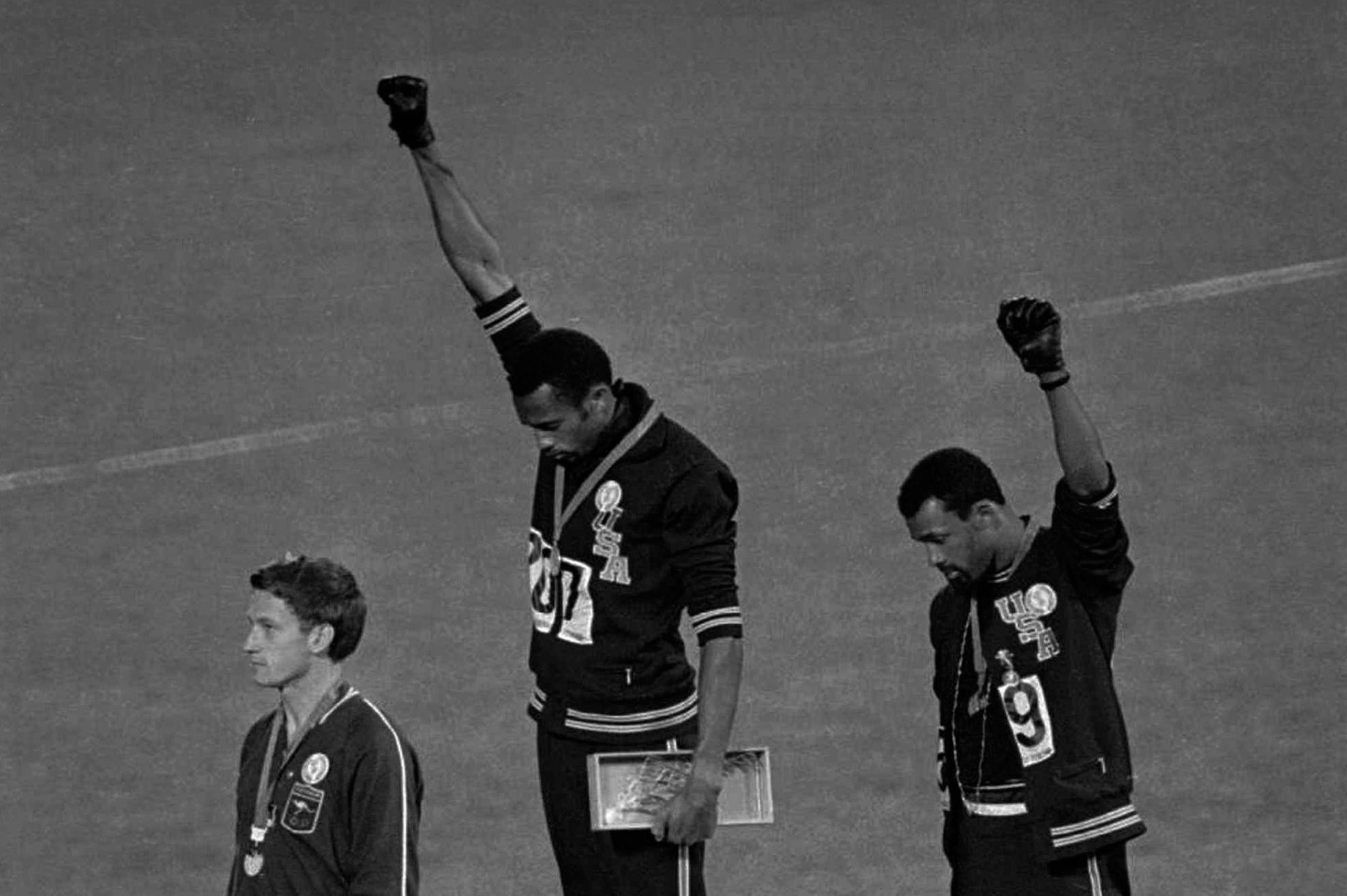 Two sprinters gave the black-power salute at the Olympics  It took