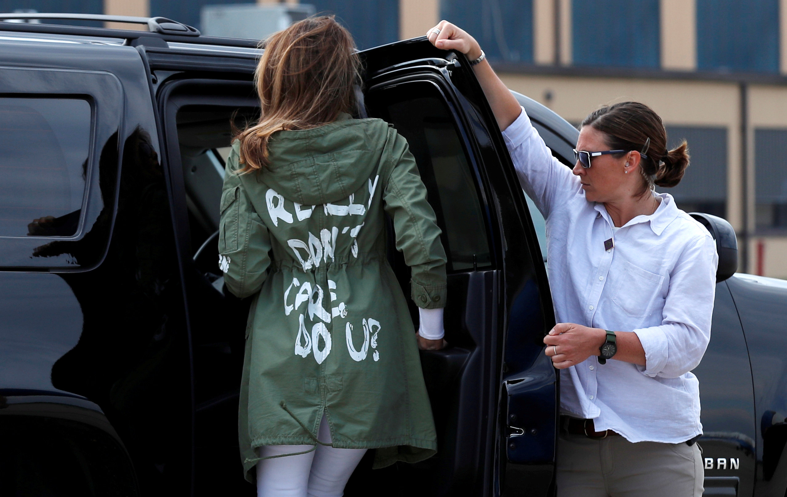 "First lady Melania Trump wore a jacket bearing the phrase ""I really don't care. Do U?"" during a visit to the U.S.-Mexico border area in June. (Kevin Lamarque/Reuters)"