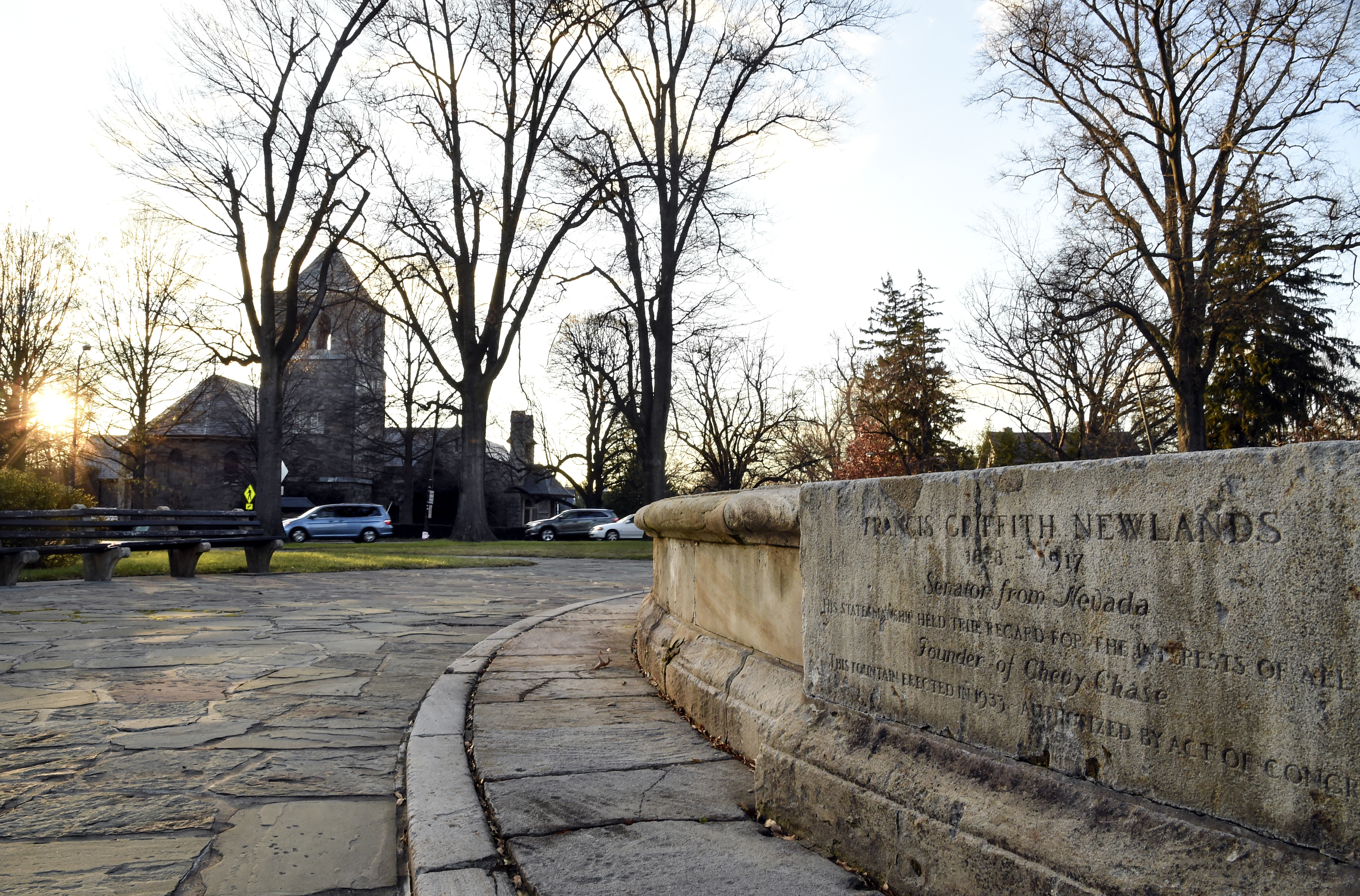 """""""His statesmanship held true regard for the interests of all men,"""" reads the inscription on the Francis Griffith Newlands Memorial Fountain, erected in 1933. (Toni L. Sandys/The Washington Post)"""
