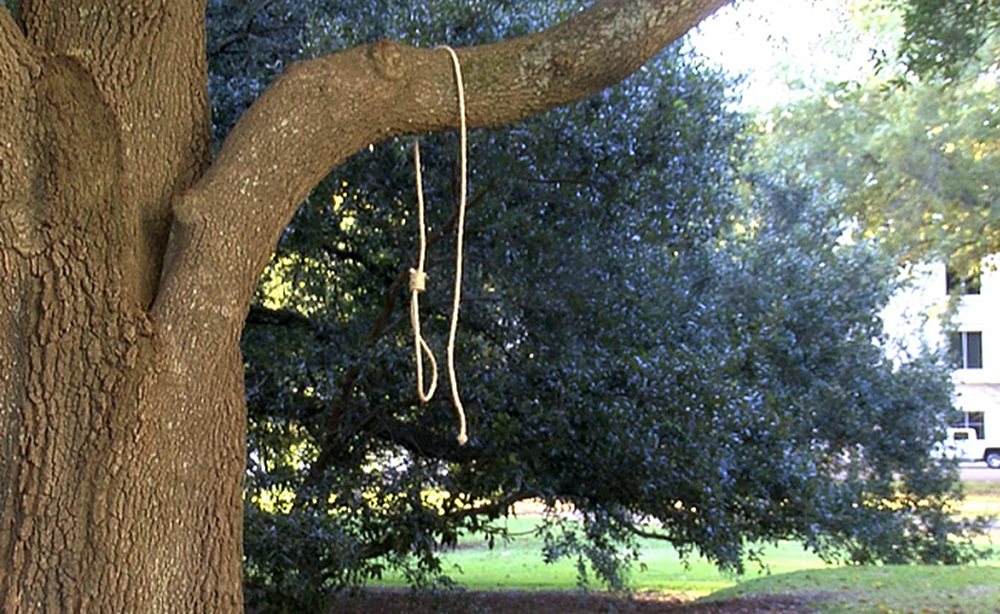 A noose hangs on the grounds of the Capitol in Mississippi.