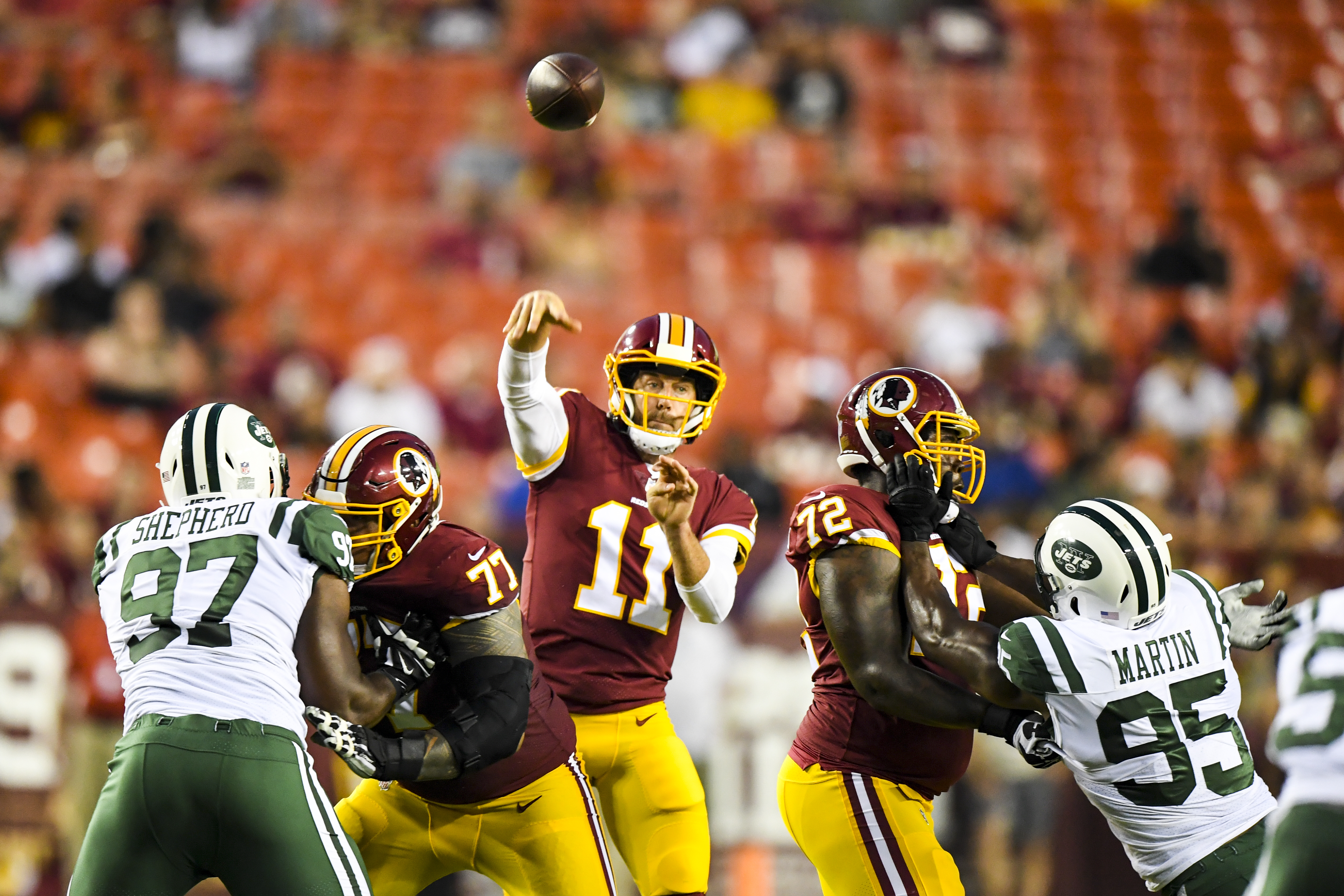 save off f8b22 49704 Redskins defeat the Jets, 15-13, as Alex Smith makes a short ...