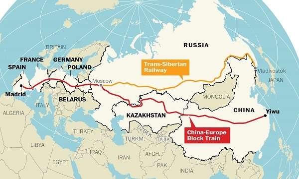 map of europe and china Map: The world's longest train journey now begins in China   The