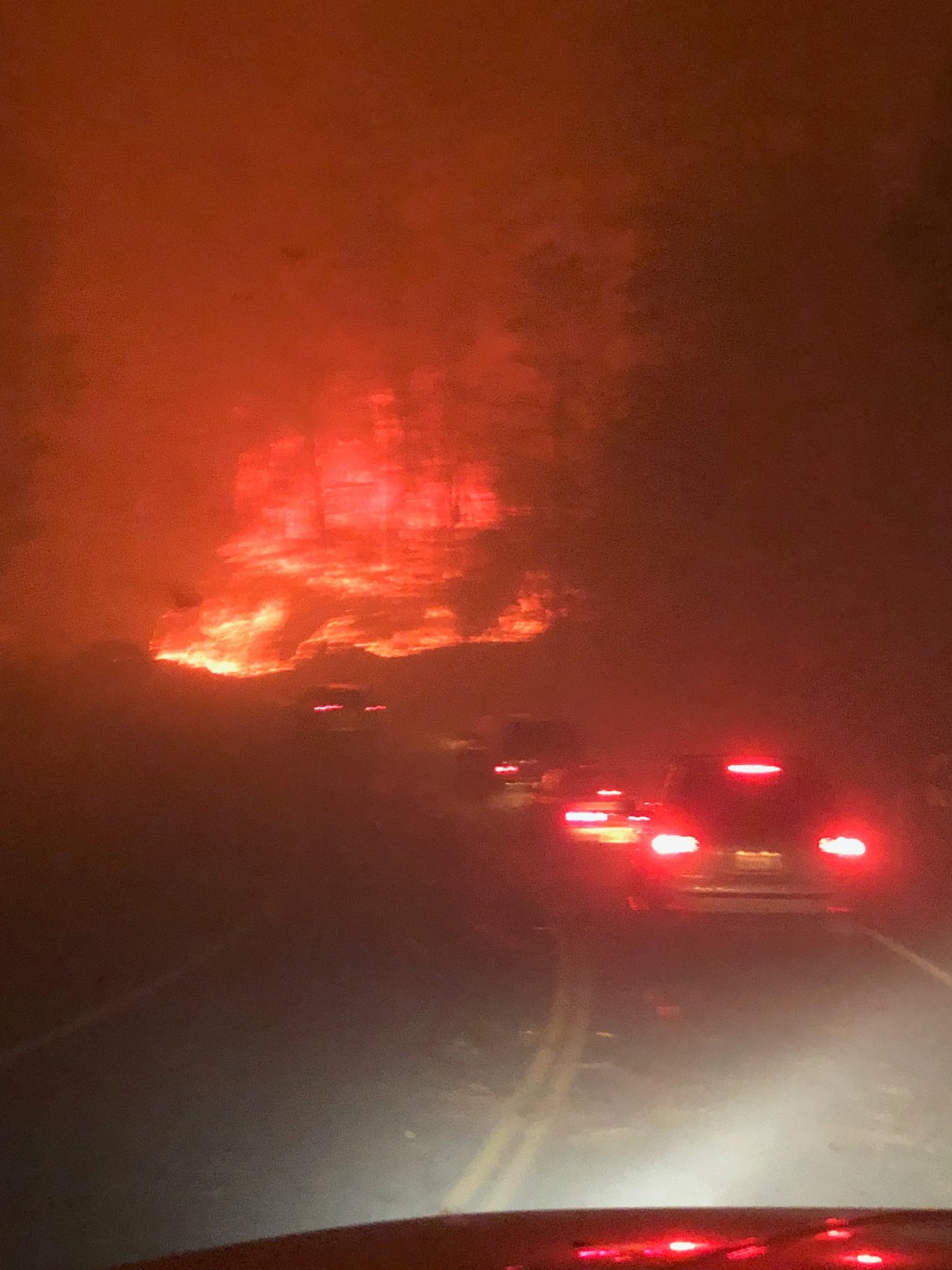 Allyn Pierce's view as he tried to evacuate the Camp Fire in Paradise, Calif., on Nov. 8, 2018.