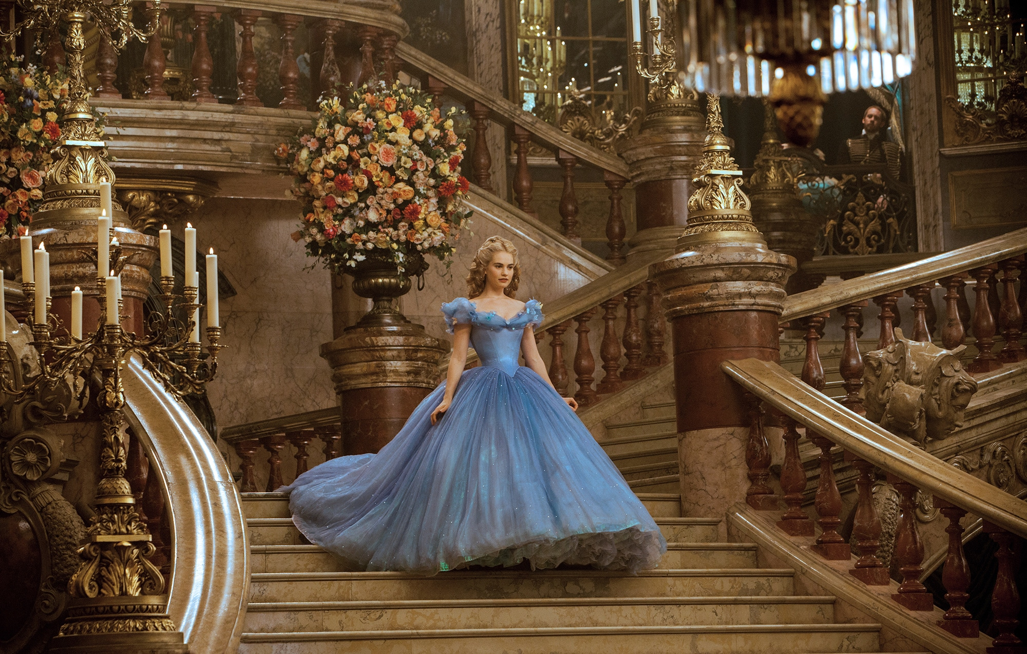 Contrasting the 19th century dresses in France, Cinderella's ball gown had no drapes or loops on the back