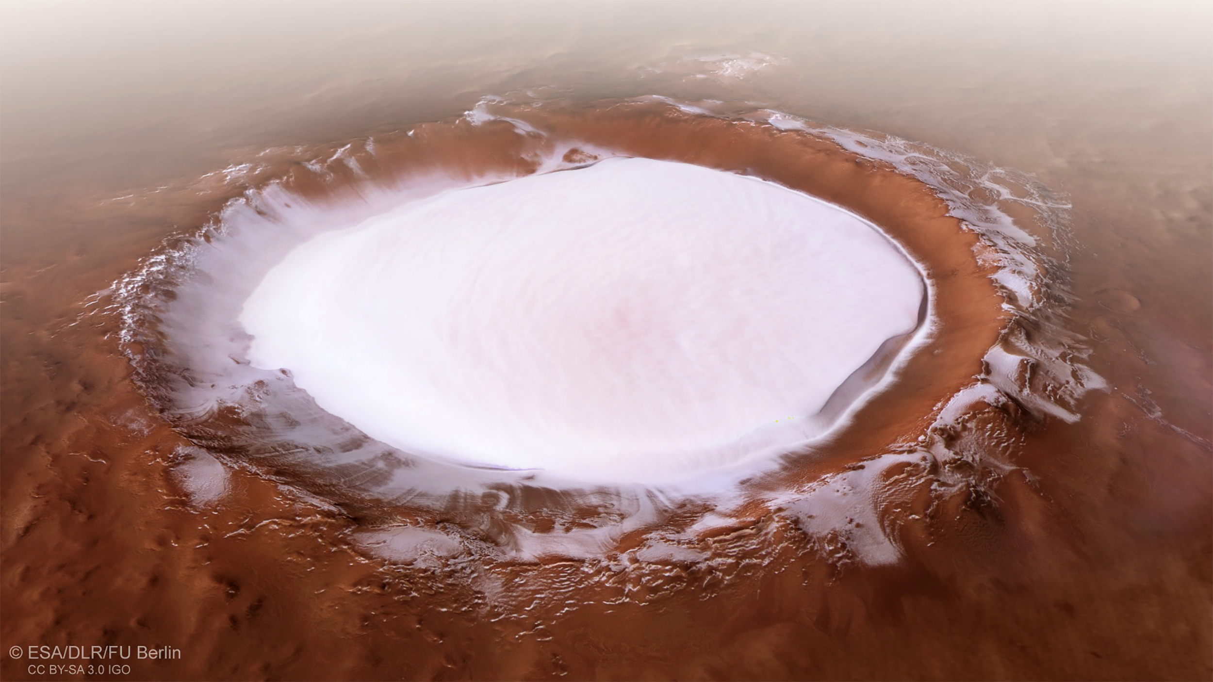 A 12-mile-wide body of water lies beneath a Mars ice cap