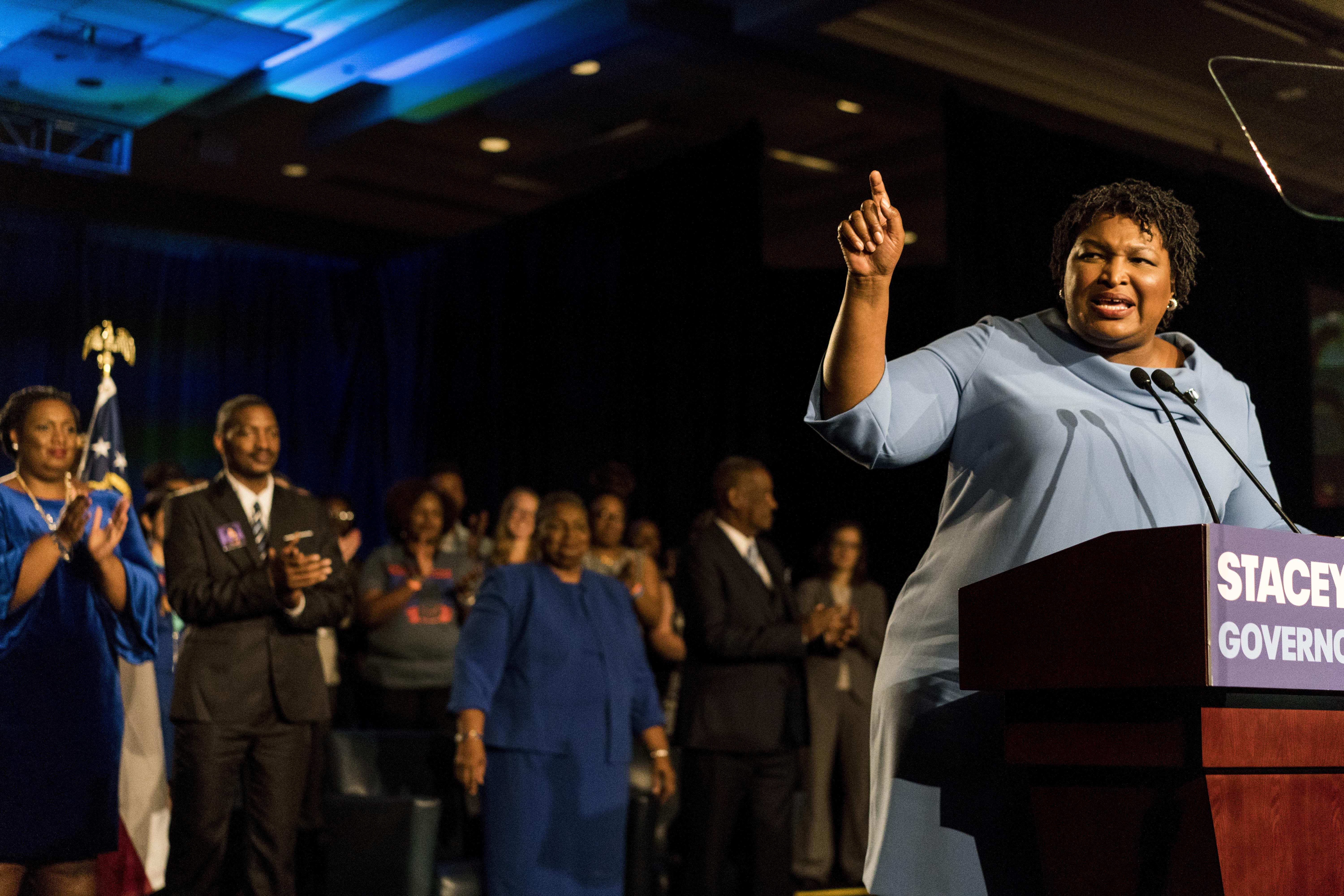 Stacey Abrams, the Democratic candidate for governor in Georgia, is trying to force a runoff with her opponent. (Melina Mara/The Washington Post)