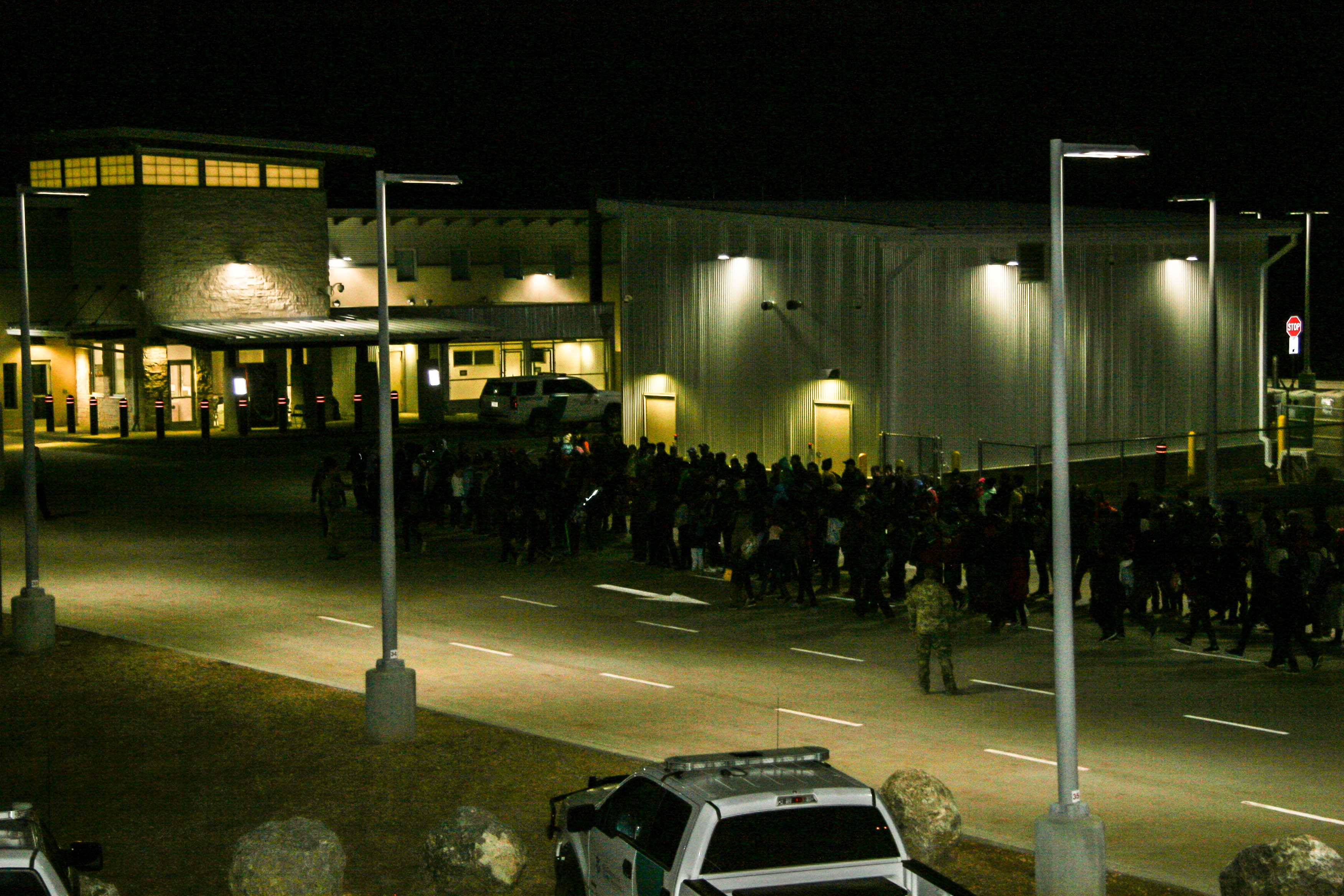 A large group of migrants waits near the Antelope Wells Port of Entry in Hidalgo County, N.M. (Obtained by The Washington Post)