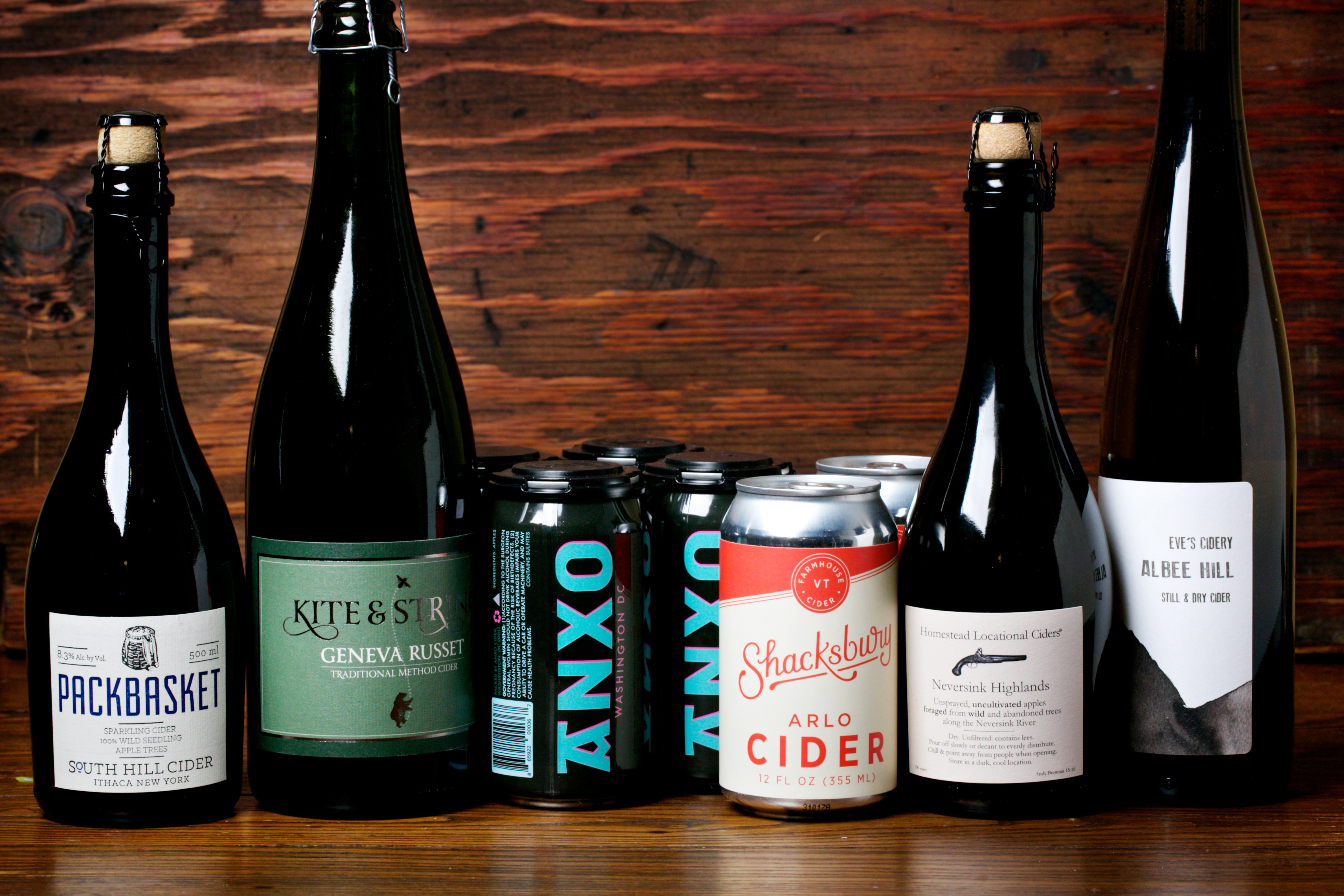 From left, cider from South Hill, Kite & String, Anxo, Shacksbury, Aaron Burr and Eve's Cidery. (Deb Lindsey /For The Washington Post)