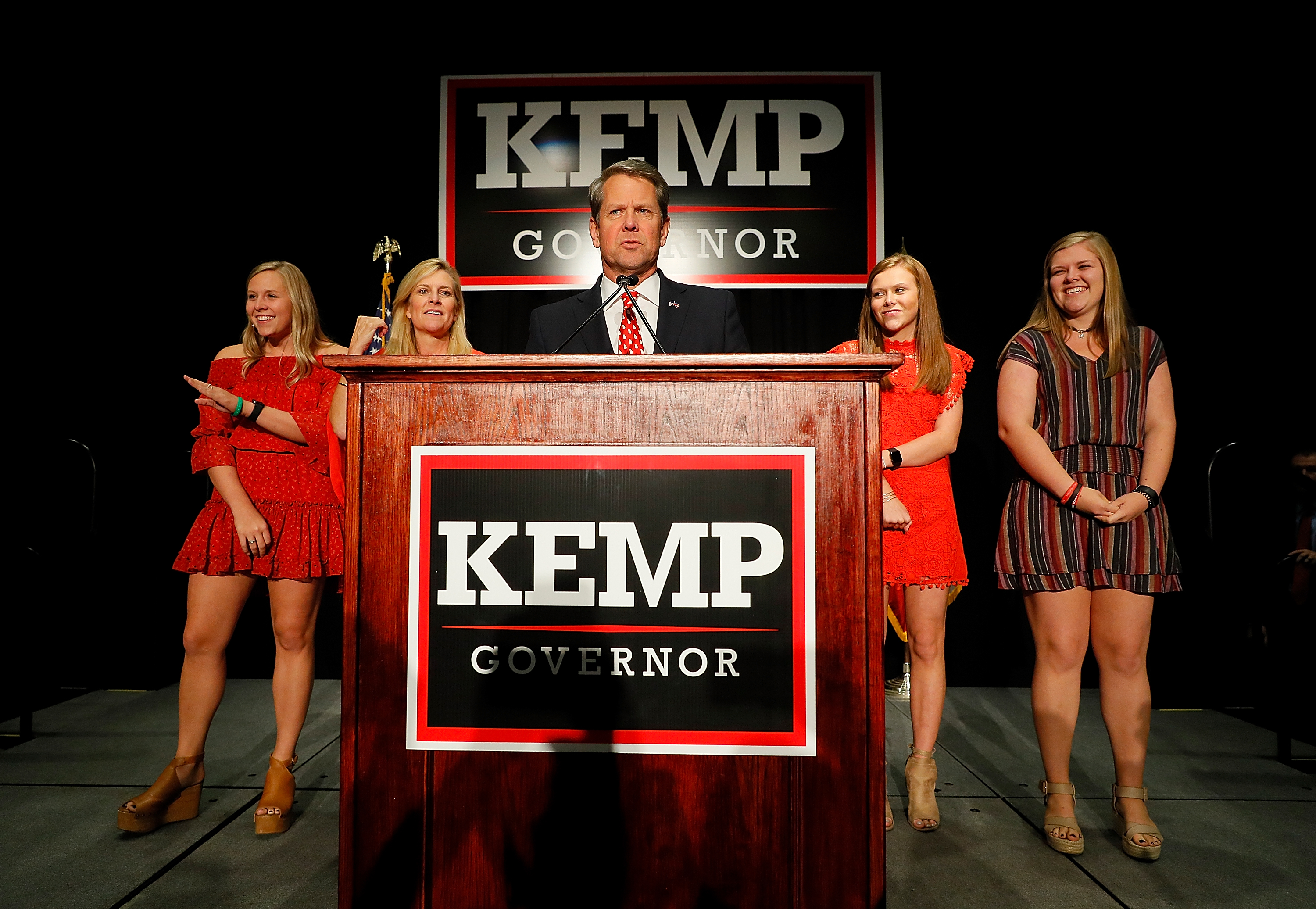 """Republican gubernatorial candidate Brian Kemp: """"It took the girls a little while to get ready tonight."""" (Kevin C. Cox/Getty Images)"""