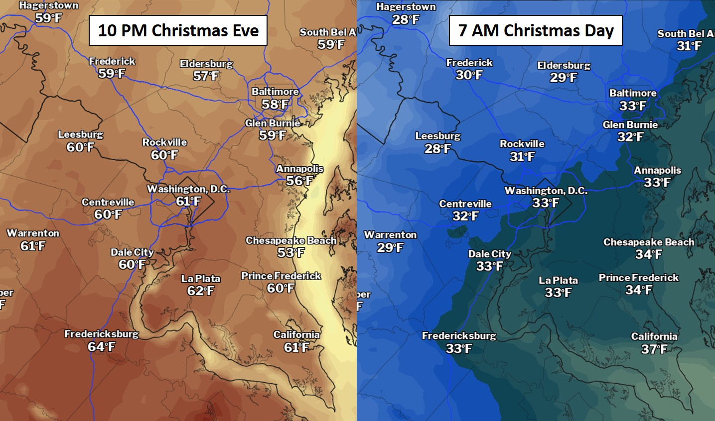 Weather Forecast For Christmas 2021 D C Area Forecast Calm Today Before A Wild Weather Ride Christmas Eve Into Christmas Day The Washington Post