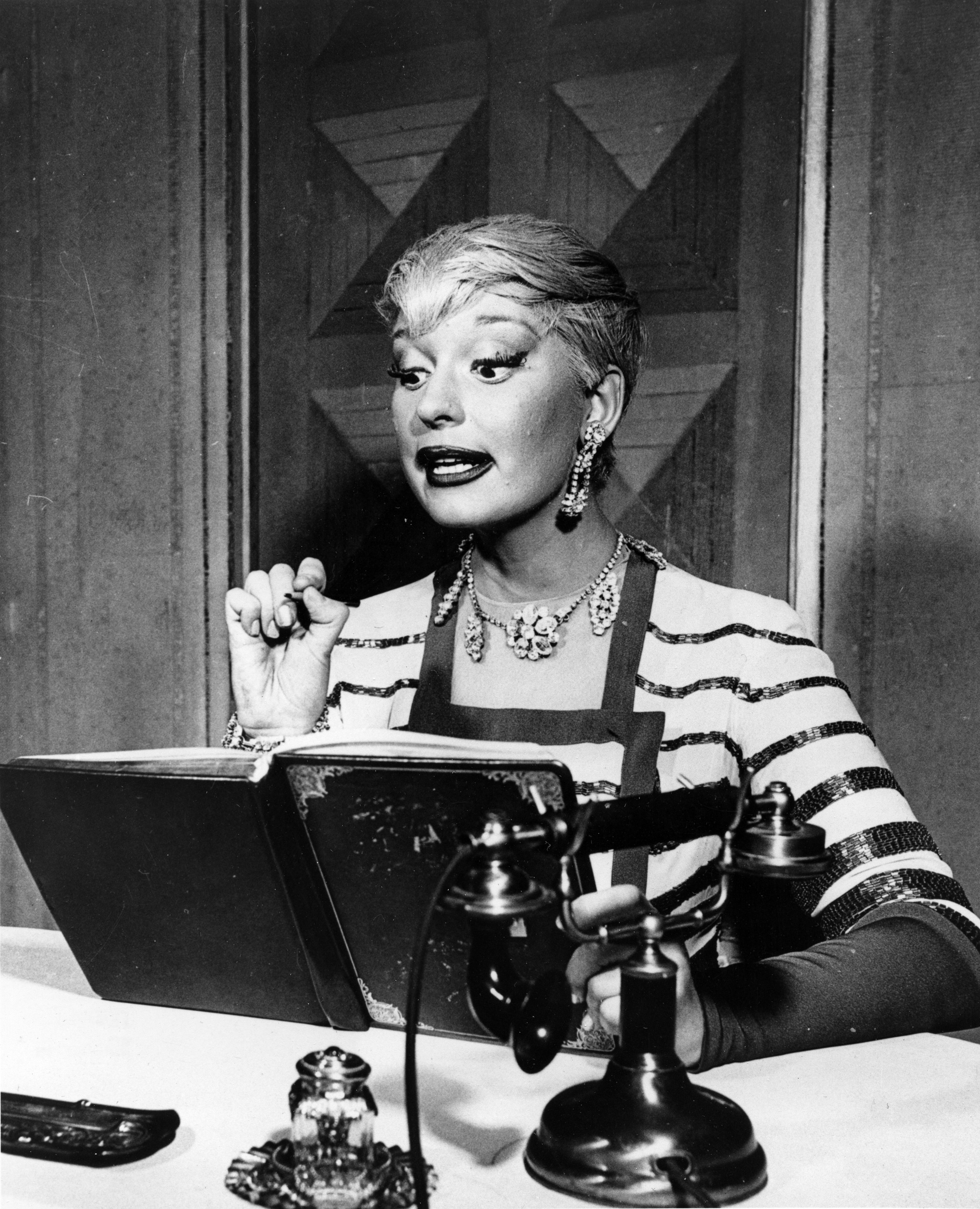"""Carol Channing is shown in the role of Lorelei Lee in the original Broadway production of """"Gentlemen Prefer Blondes"""" in 1950."""