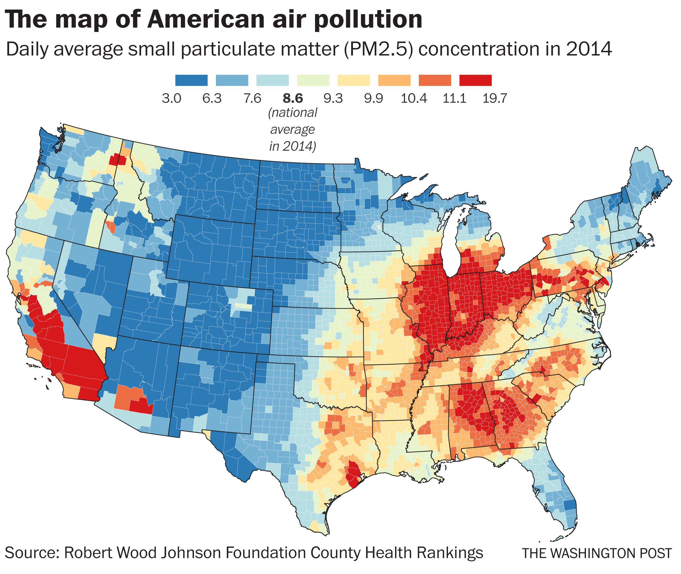 Map Of Air Pollution In Us U.S. air pollution is getting worse, and data shows more people