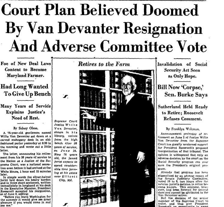 """Roosevelt's plan was """"believed doomed"""" after favorable Supreme Court rulings and the announcement of a justice's retirement. (Washington Post Staff/The Washington Post)"""