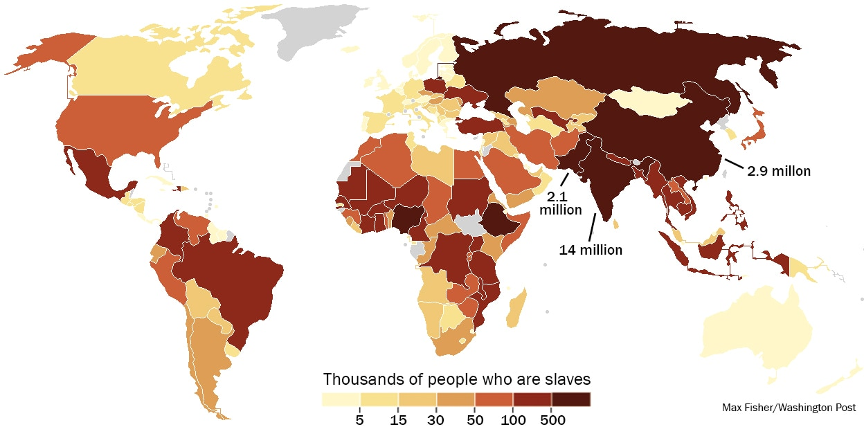 Picture of: This Map Shows Where The World S 30 Million Slaves Live There Are 60 000 In The U S The Washington Post