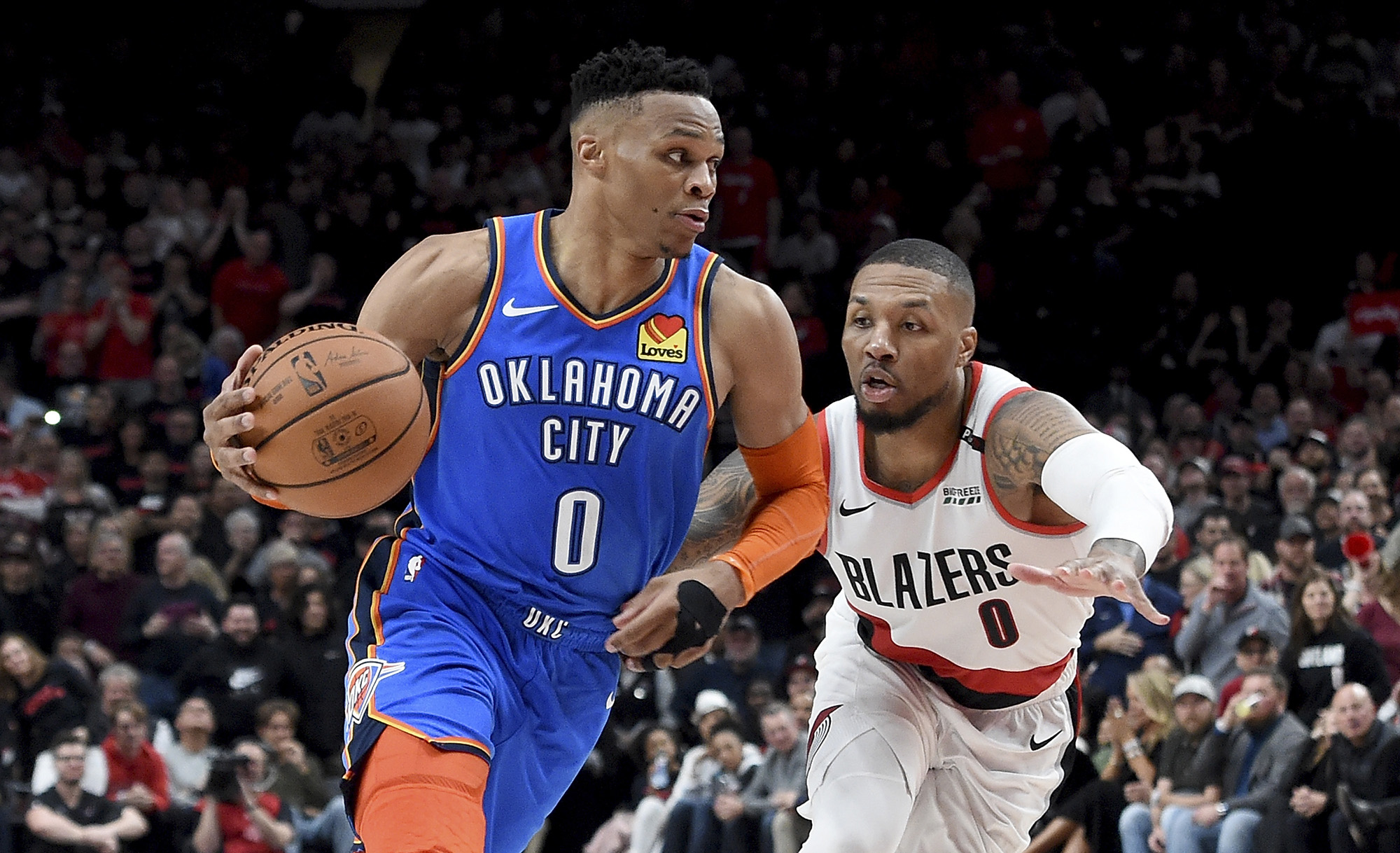 Russell Westbrook (left) and the Oklahoma City Thunder lost in the first round of the playoffs in three straight years following Kevin Durant's 2016 departure. (Steve Dykes/Getty Images)