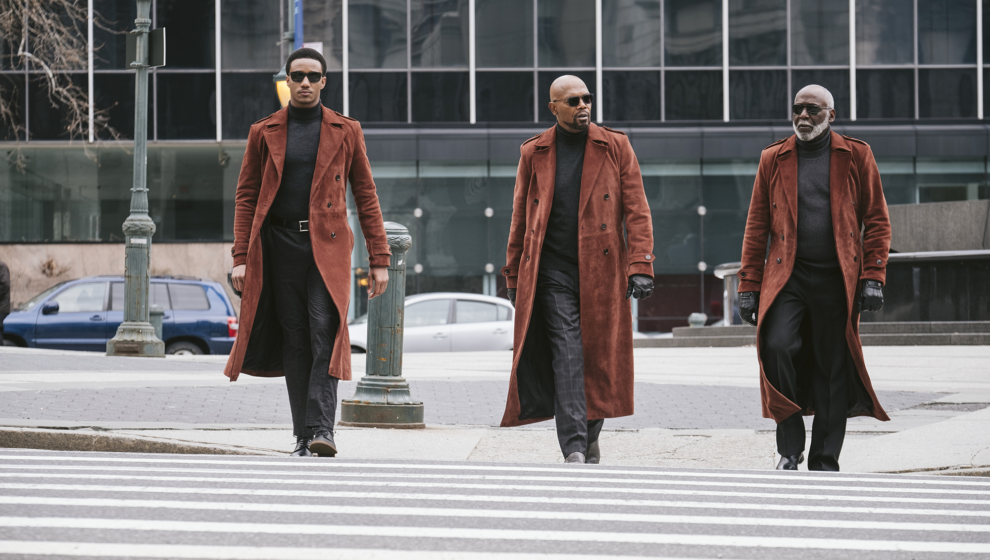 """From left: Jessie T. Usher, Samuel L. Jackson and Richard Roundtree play three generations in the new """"Shaft"""" movie. (Kyle Kaplan/Warner Bros. Pictures)"""
