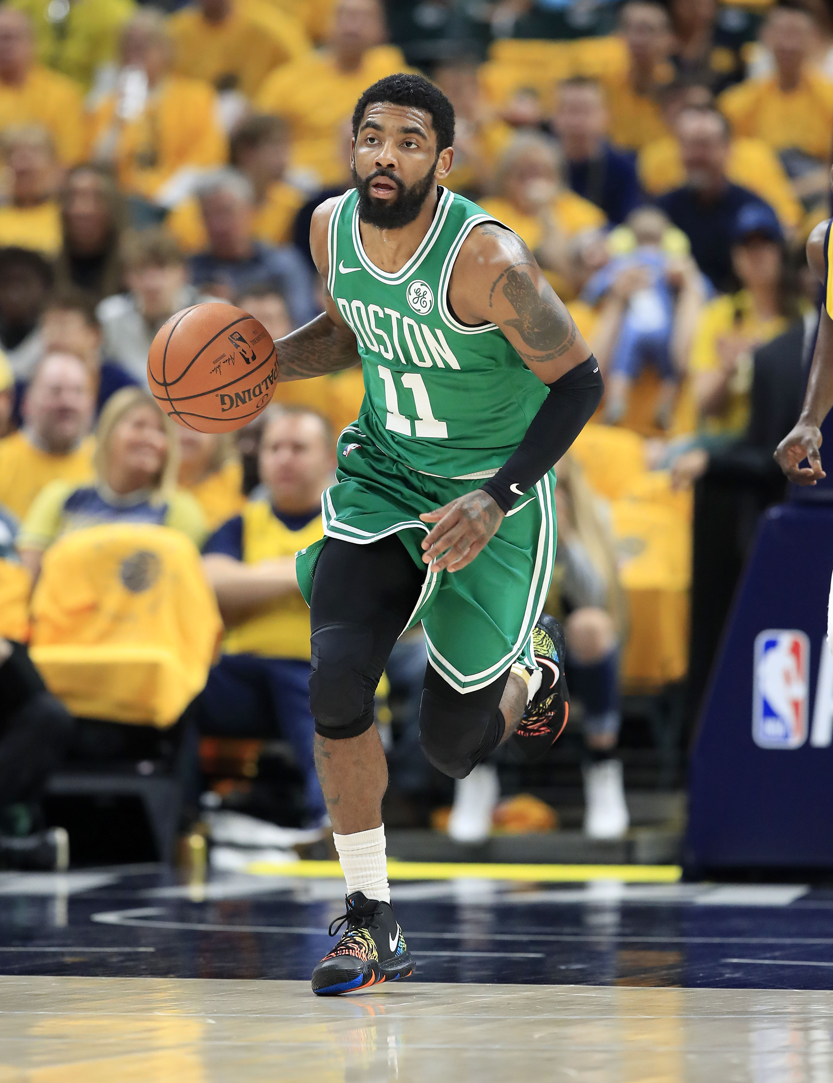 Boston Celtics guard Kyrie Irving missed last year's first-round series against the Milwaukee Bucks due to injury.