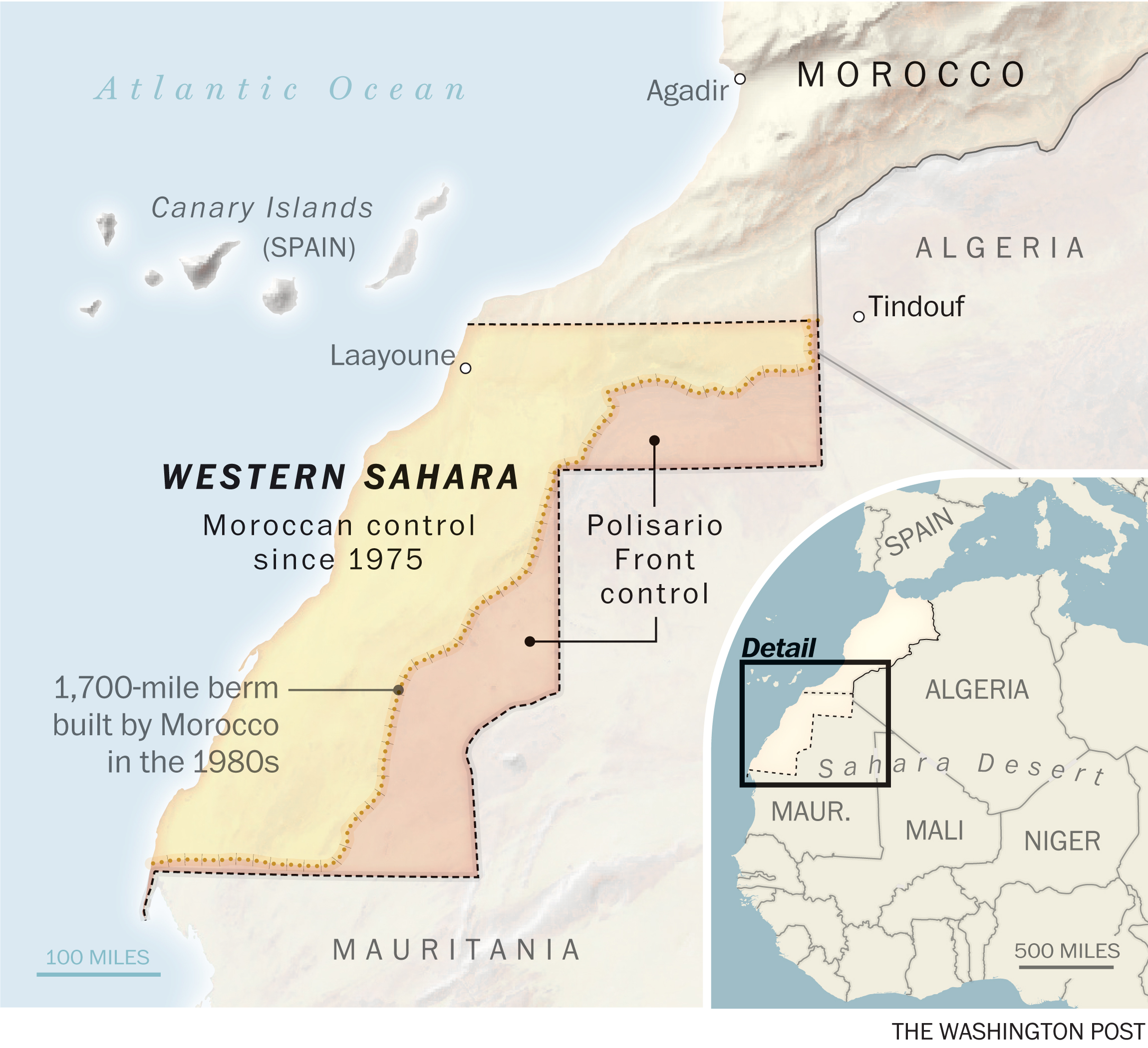 A map locating the Western Sahara.