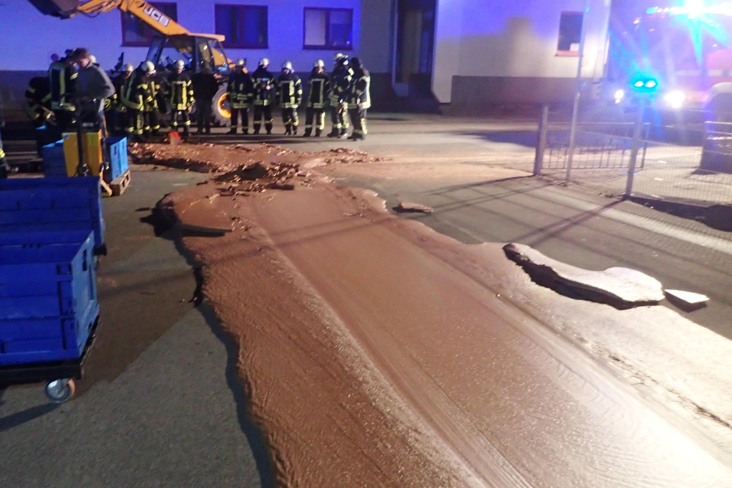 German chocolate factory spill turns street into Willy Wonka Way ...