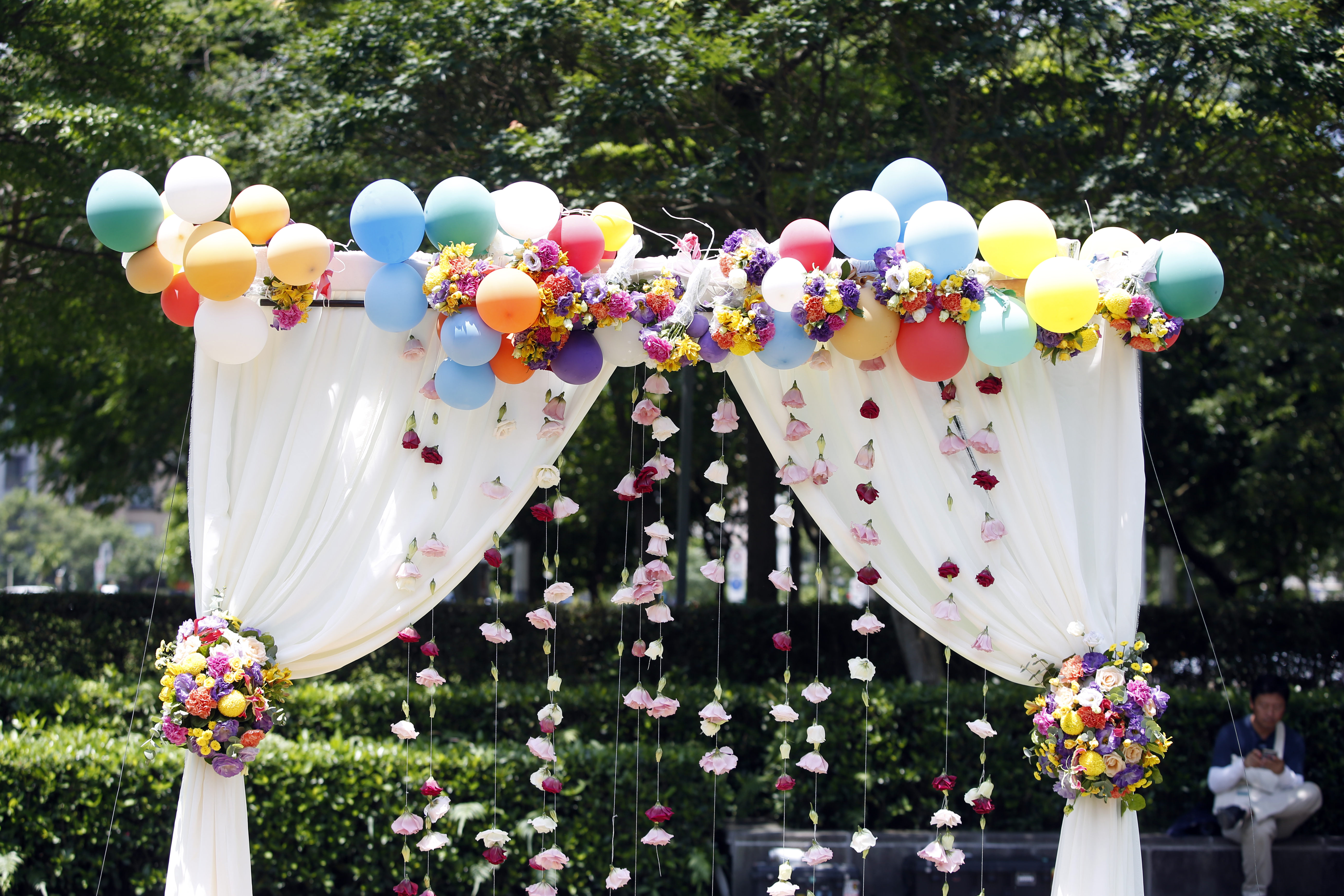 Balloons and floral decorations are displayed at a pro same-sex marriage party in Taipei.